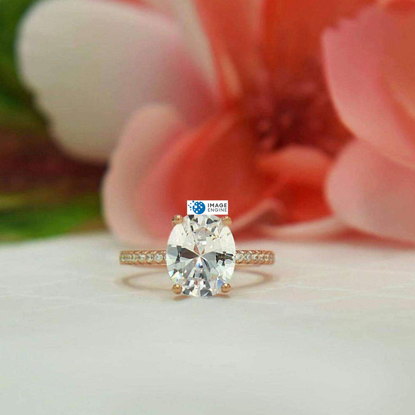 Cara Zirconia Ring - on Flower Background - 18K Yellow Gold Vermeil