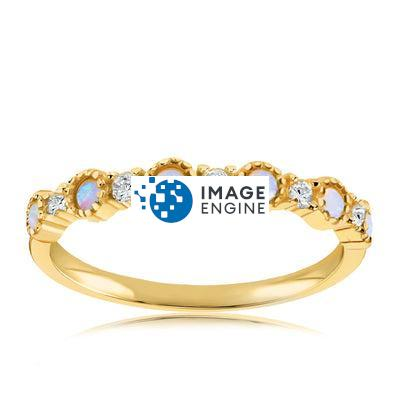 Debra Dots Opal Ring - Front View Facing Up - 18K Yellow Gold Vermeil Featured