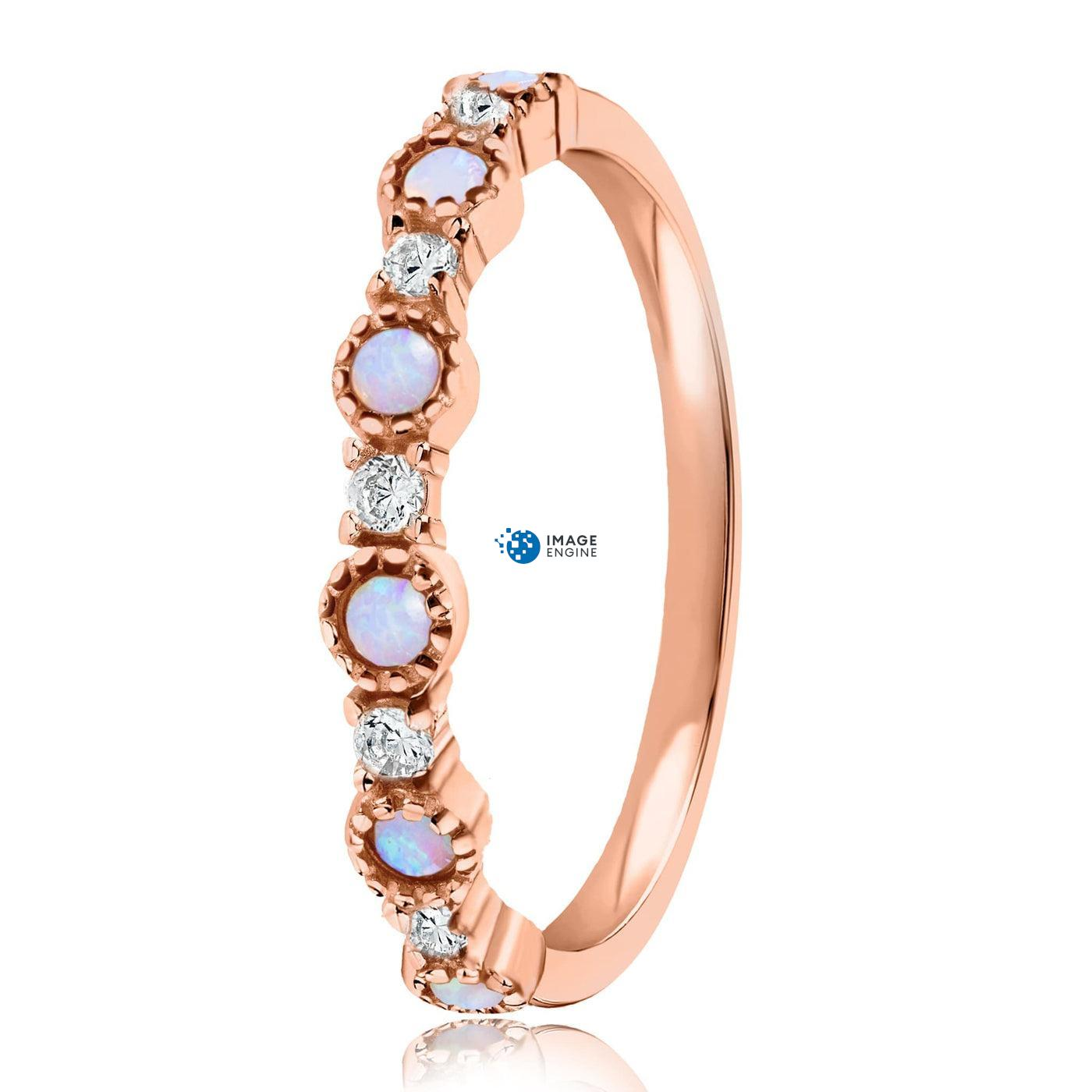 Debra Dots Opal Ring - Side View - 18K Rose Gold Vermeil
