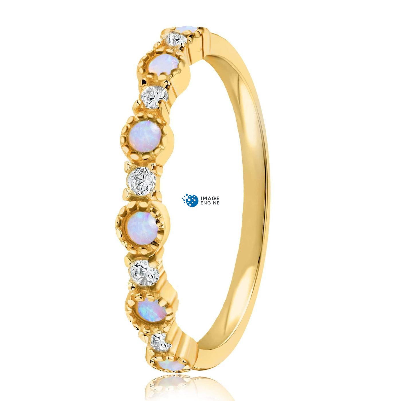 Debra Dots Opal Ring - Side View - 18K Yellow Gold Vermeil