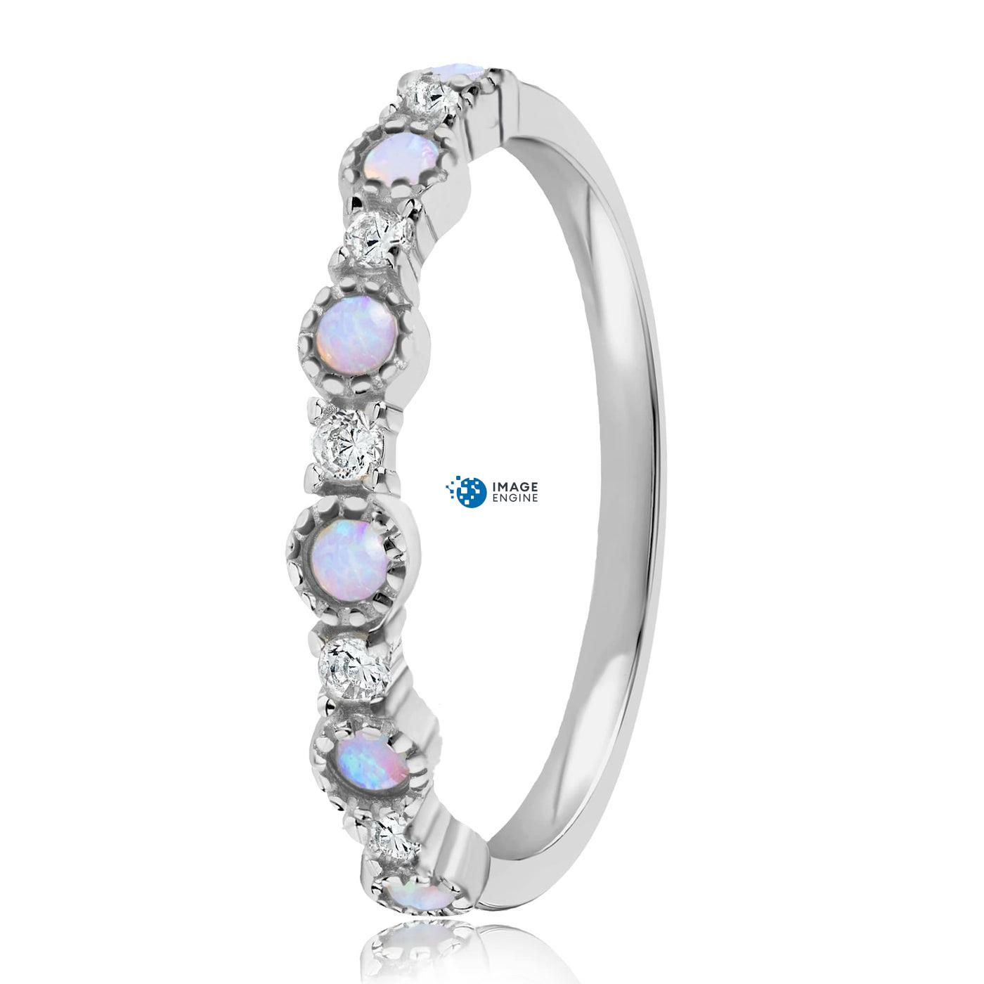 Debra Dots Opal Ring - Side View - 925 Sterling Silver