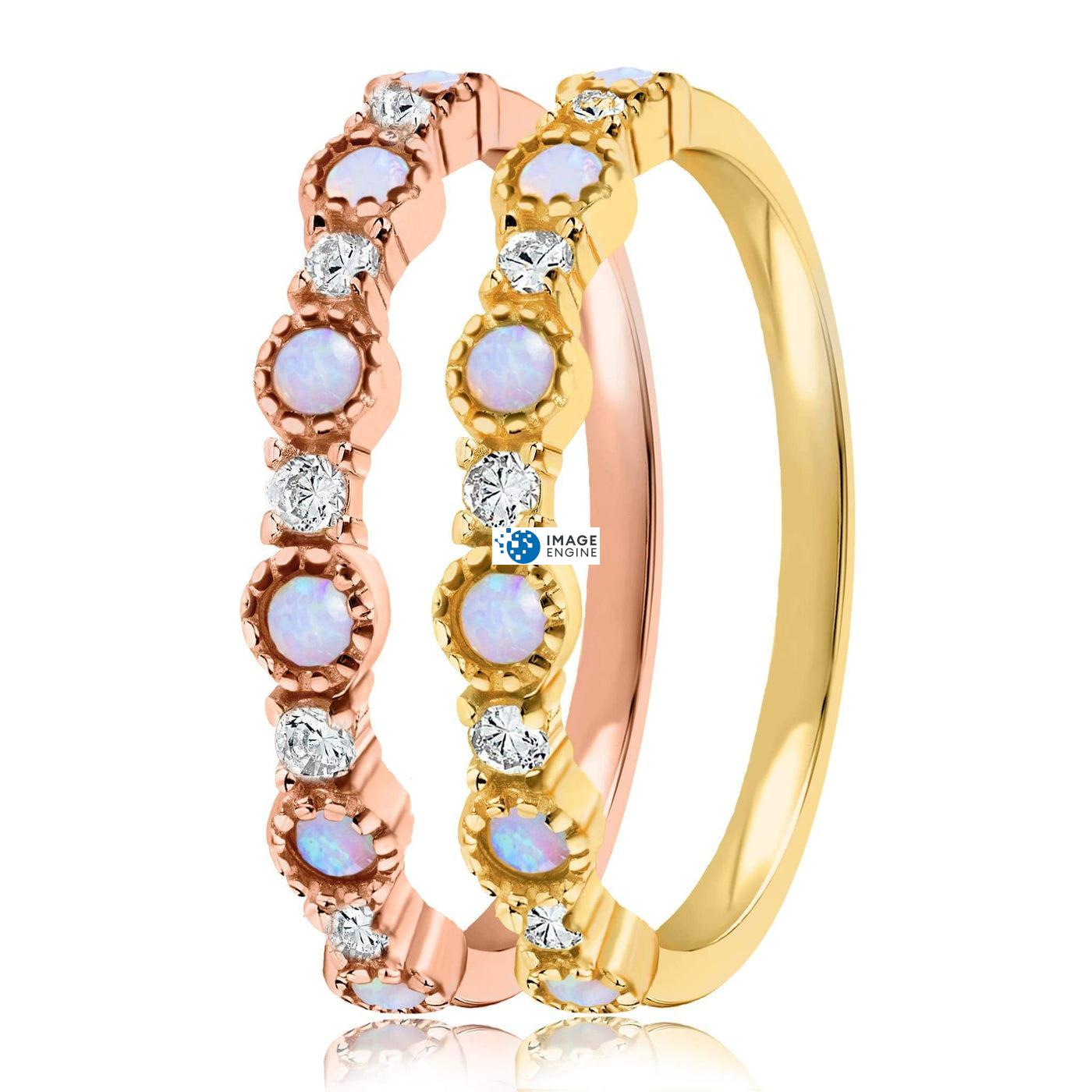 Debra Dots Opal Ring - Side by Side - 18K Yellow Gold Vermeil and 18K Rose Gold Vermeil