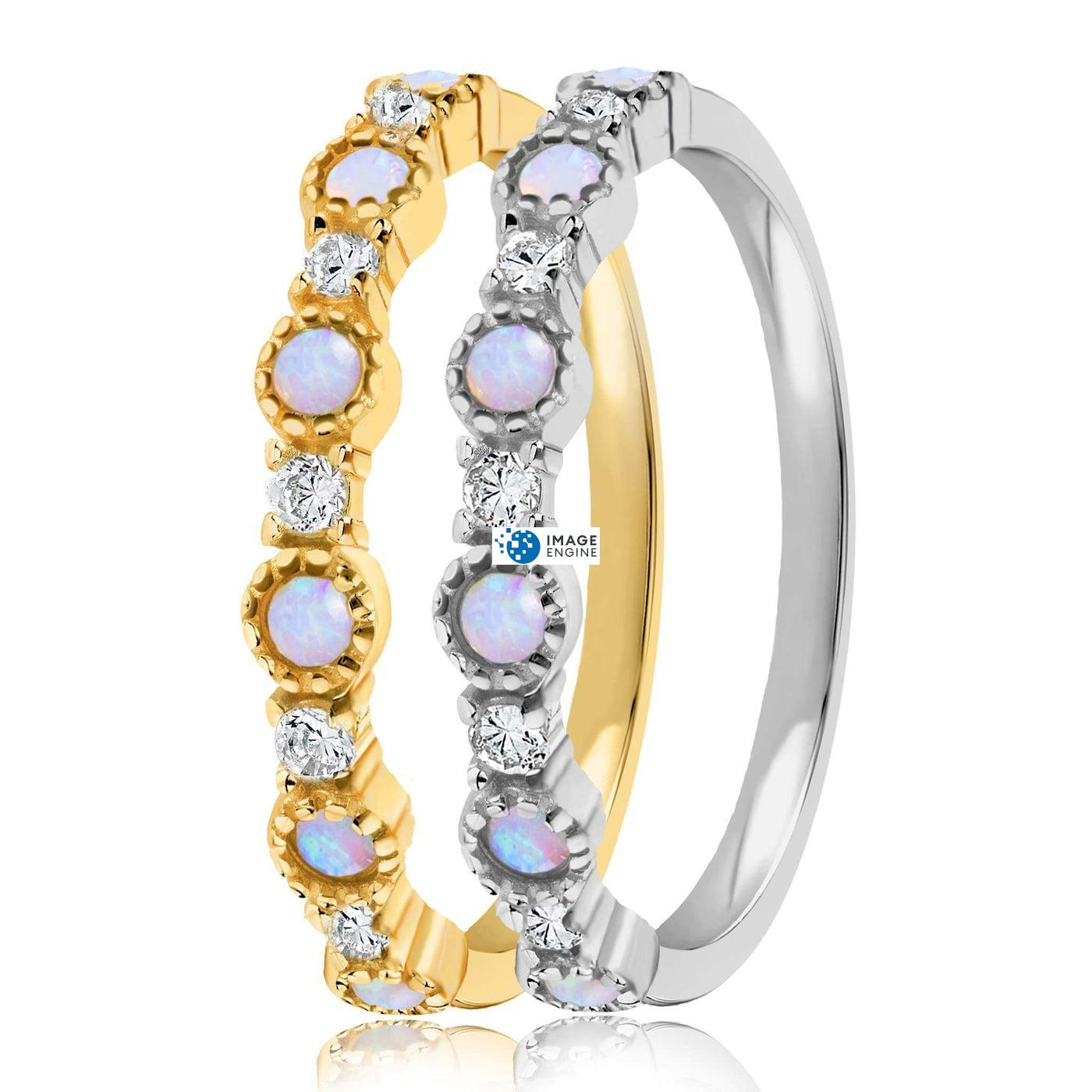 Debra Dots Opal Ring - Side by Side - 18K Yellow Gold and 925 Sterling Silver