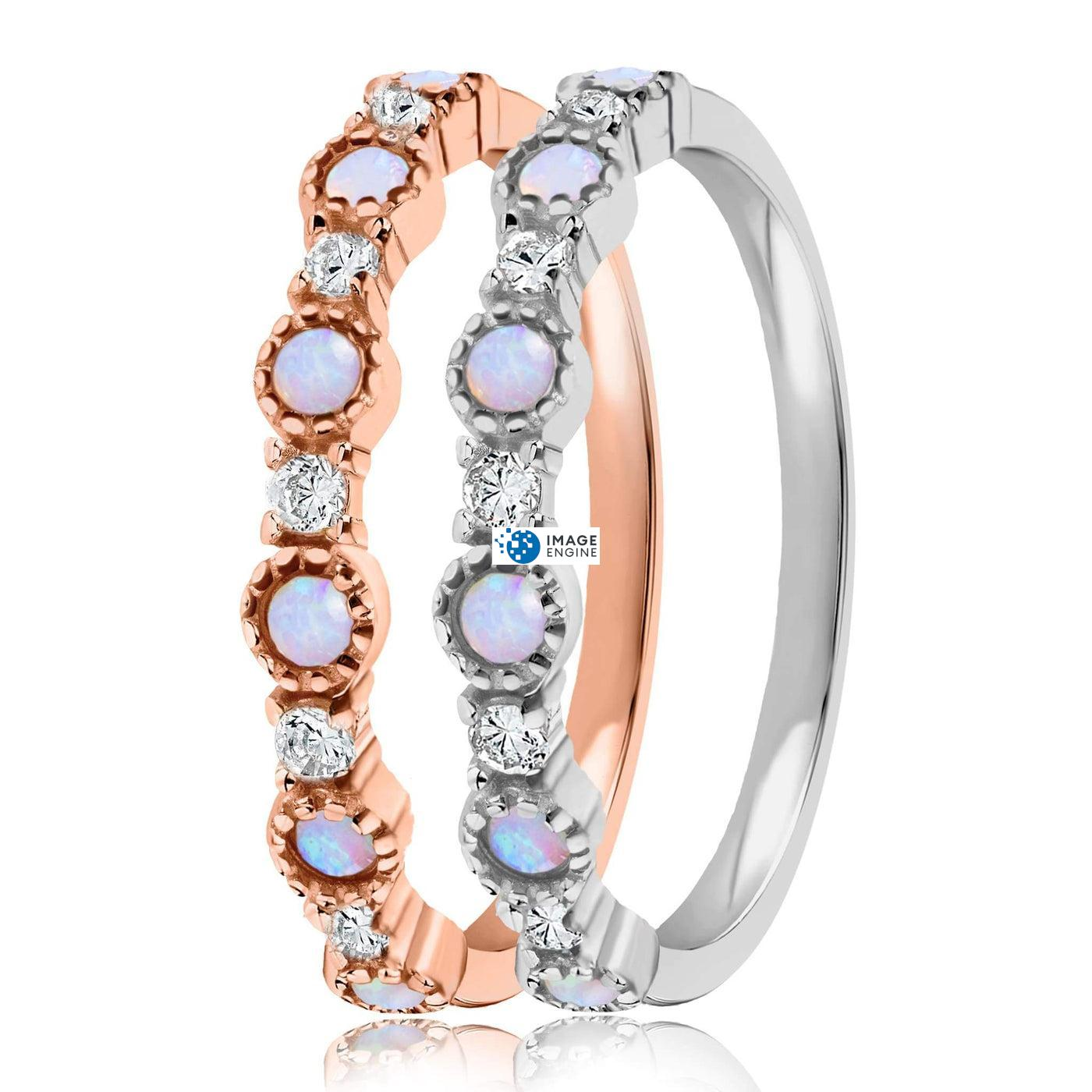 Debra Dots Opal Ring - Side by Side - 925 Sterling Silver and 18K Rose Gold Vermeil