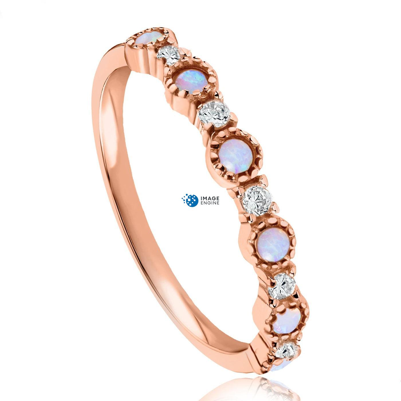 Debra Dots Opal Ring - Three Quarter View - 18K Rose Gold Vermeil