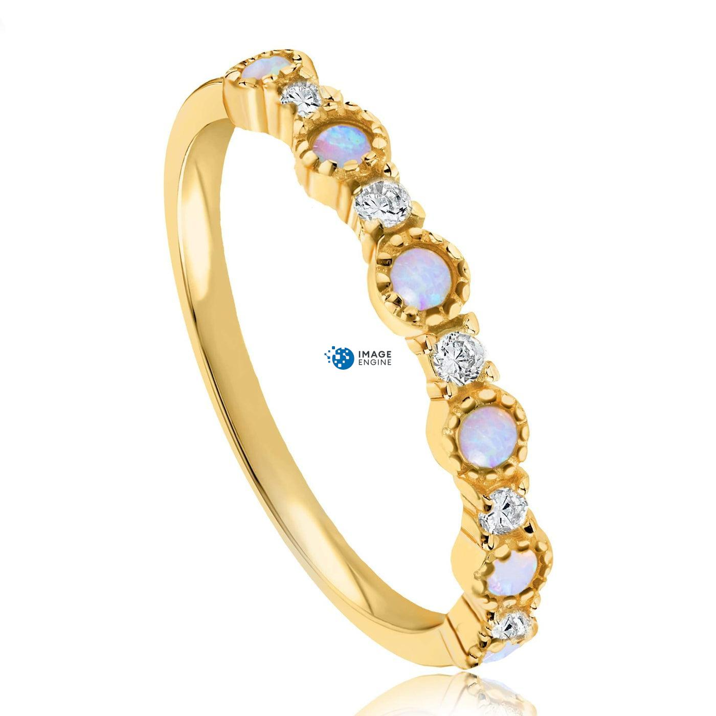Debra Dots Opal Ring - Three Quarter View - 18K Yellow Gold Vermeil