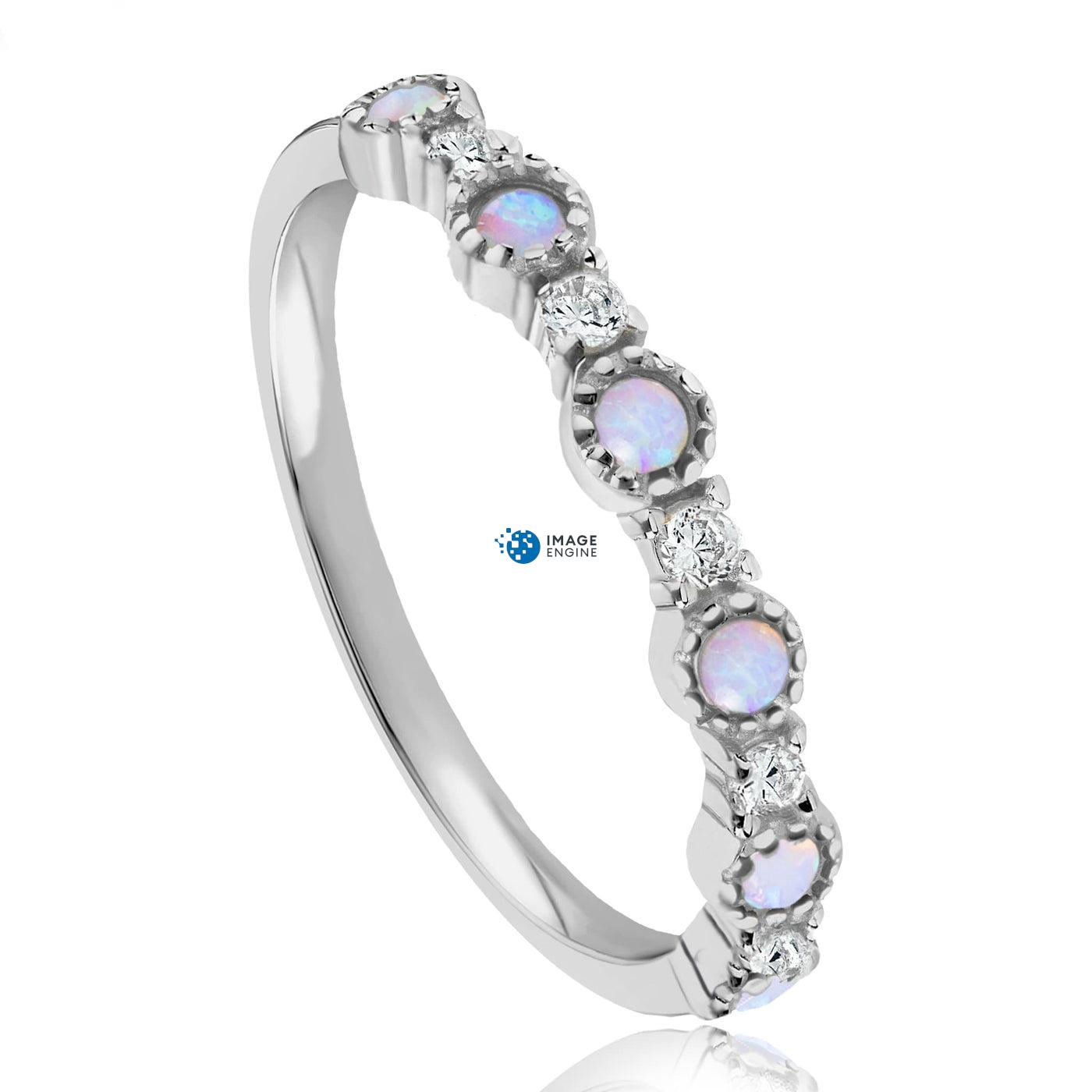 Debra Dots Opal Ring - Three Quarter View - 925 Sterling Silver