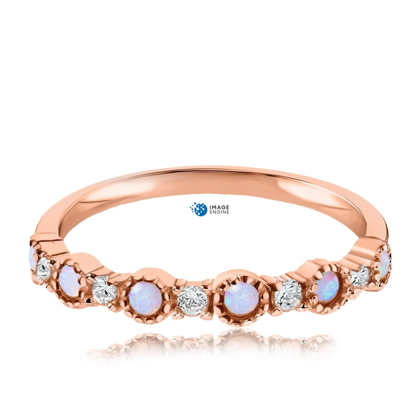 Debra Dots Opal Ring - Front View Facing Down - 18K Rose Gold Vermeil