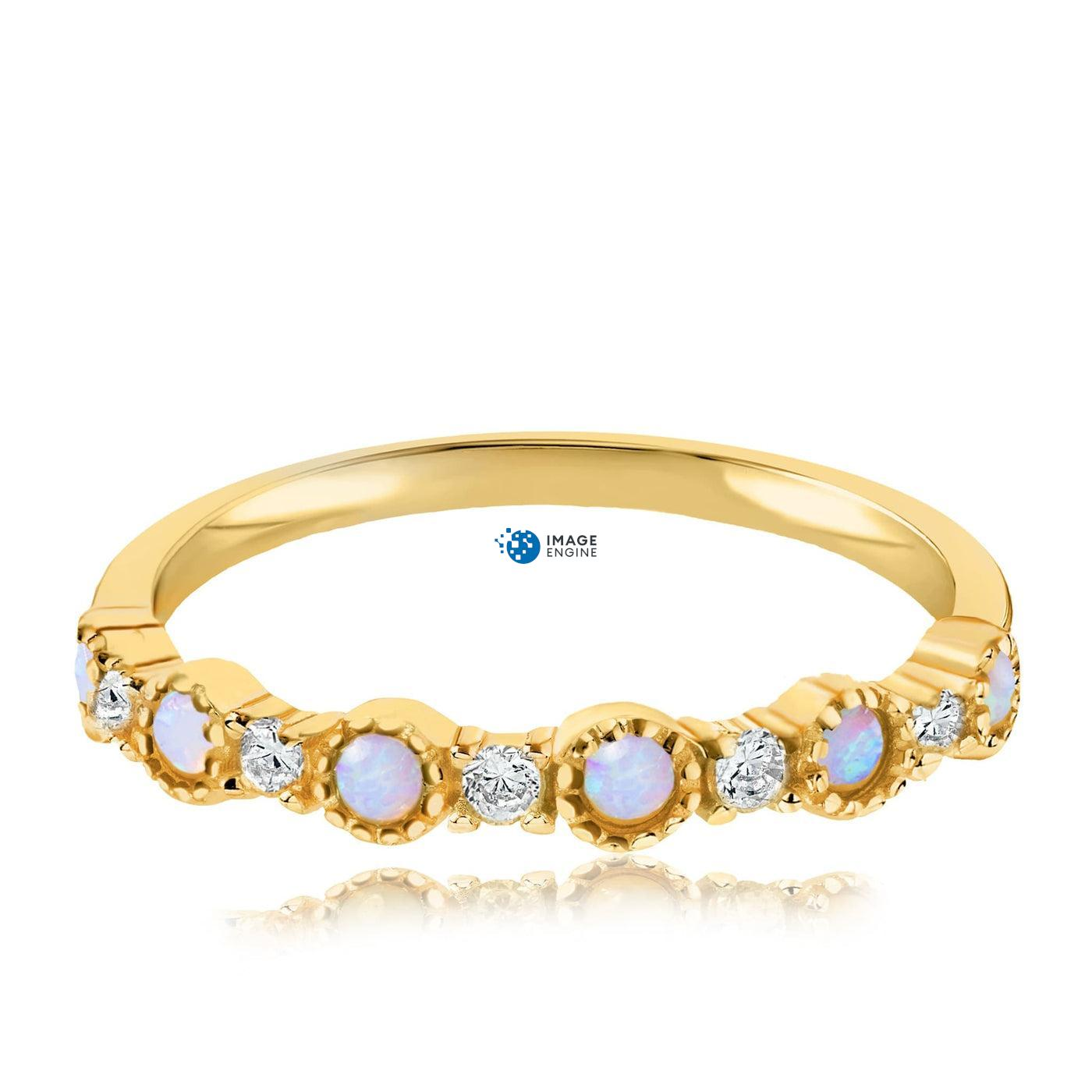 Debra Dots Opal Ring - Front View Facing Down - 18K Yellow Gold Vermeil