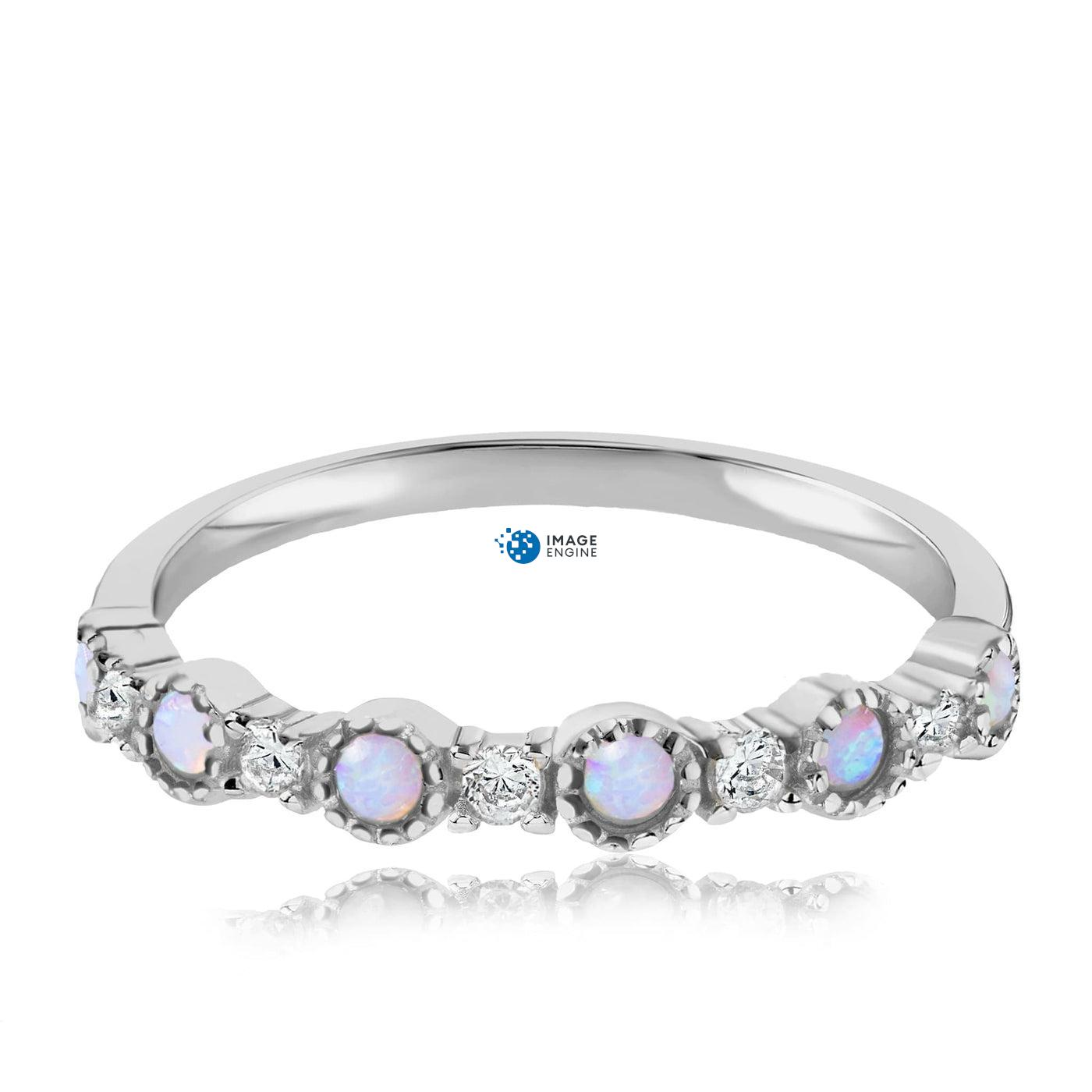 Debra Dots Opal Ring - Front View Facing Down - 925 Sterling Silver