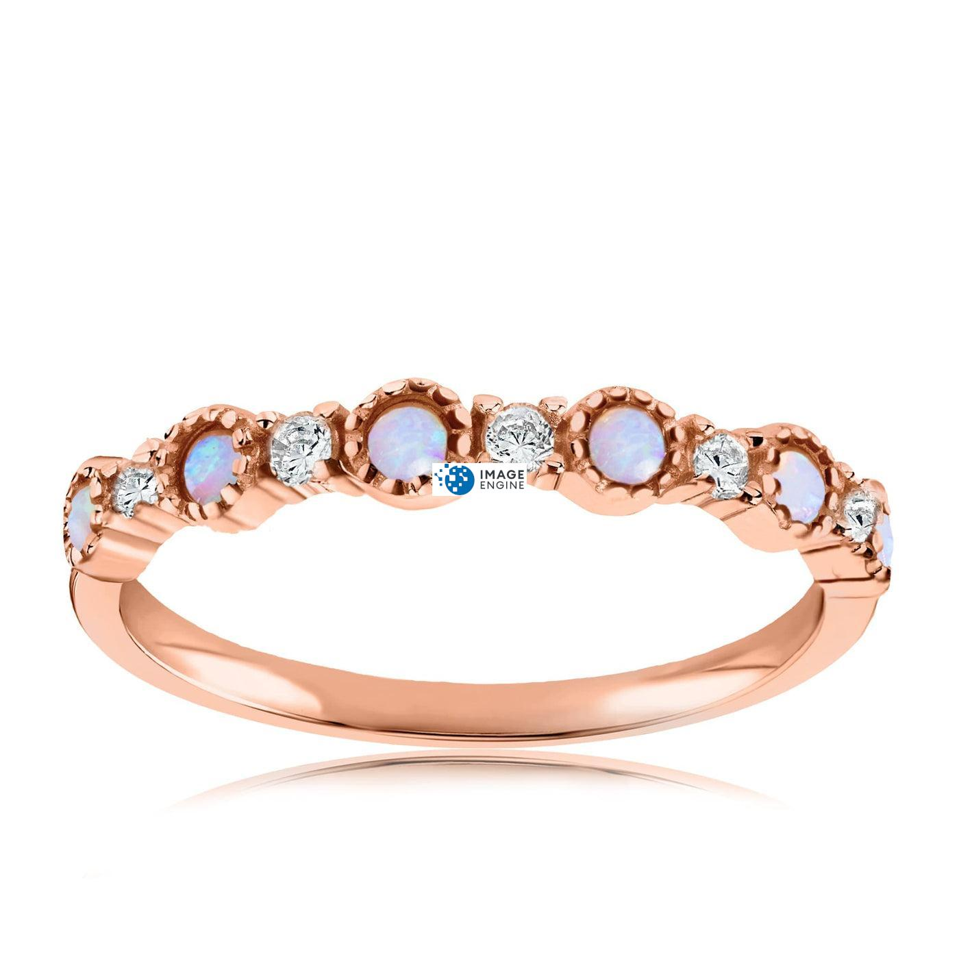 Debra Dots Opal Ring - Front View Facing Up - 18K Rose Gold Vermeil