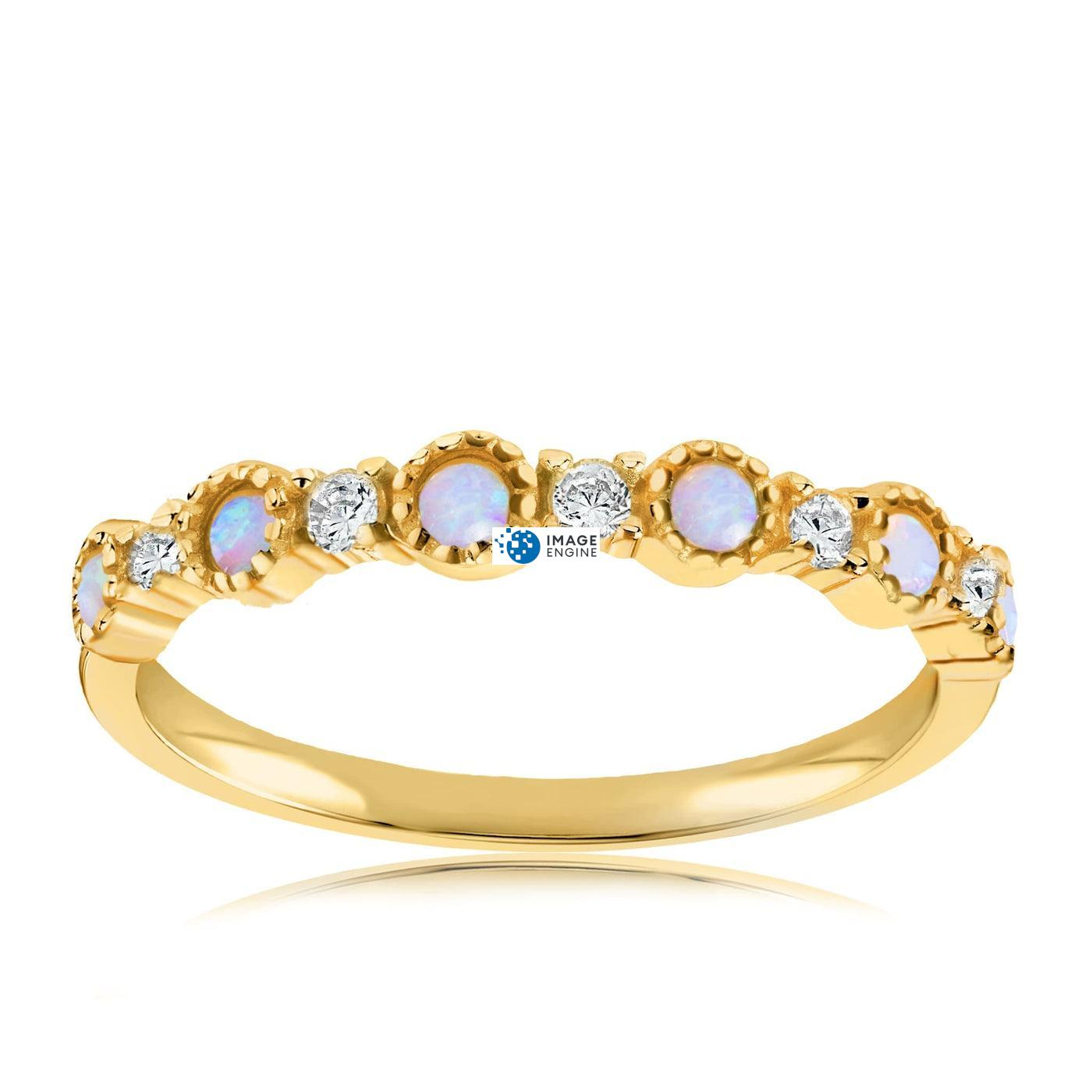 Debra Dots Opal Ring - Front View Facing Up - 18K Yellow Gold Vermeil