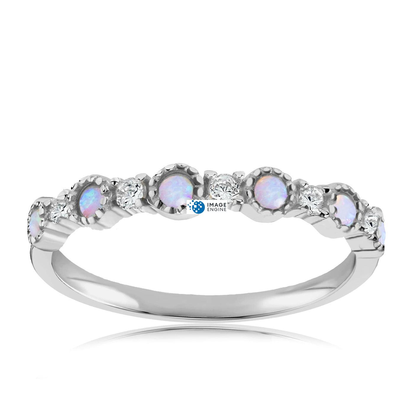 Debra Dots Opal Ring - Front View Facing Up - 925 Sterling Silver