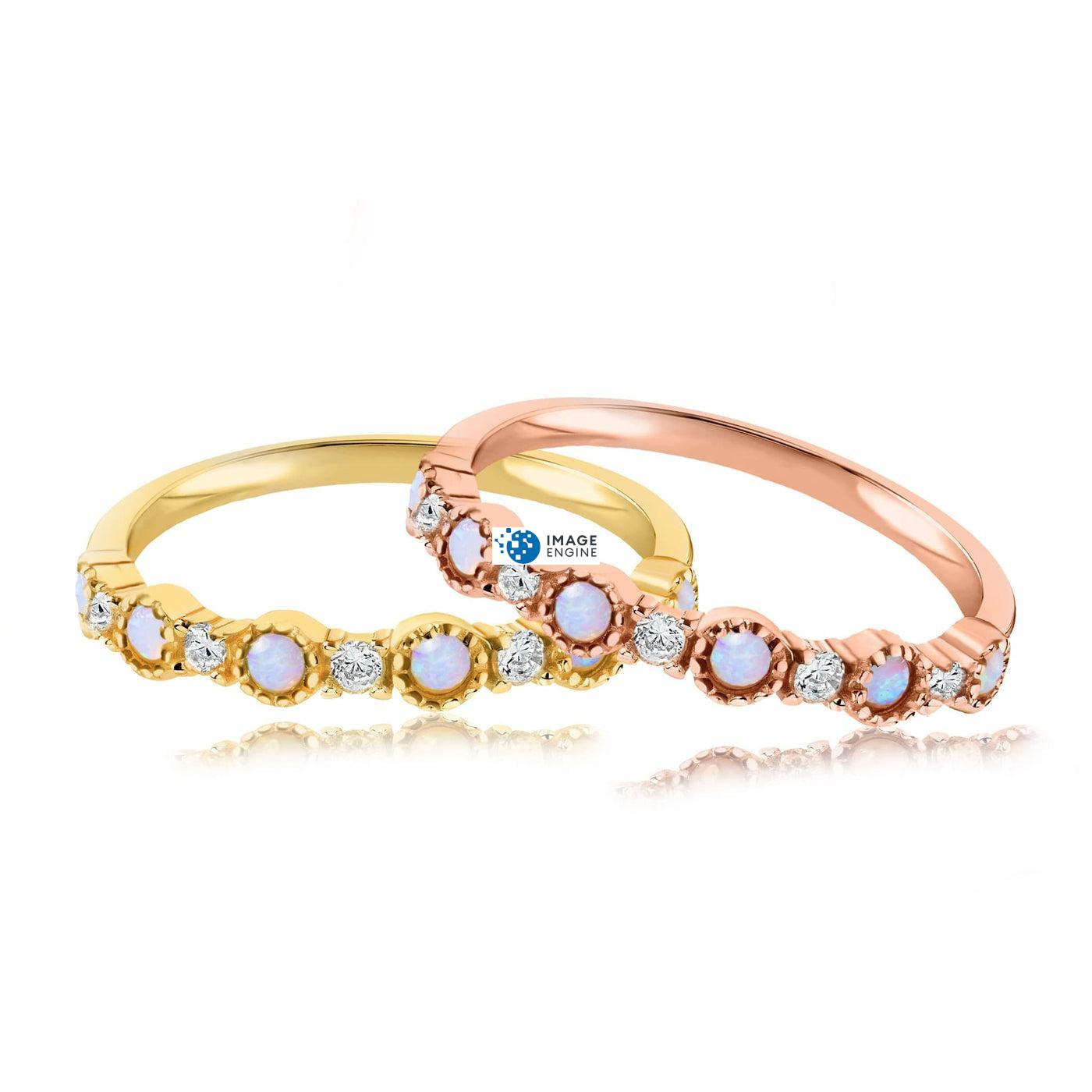 Debra Dots Opal Ring - Front View Side by Side - 18K Rose Gold Vermeil and 18K Yellow Gold Vermeil