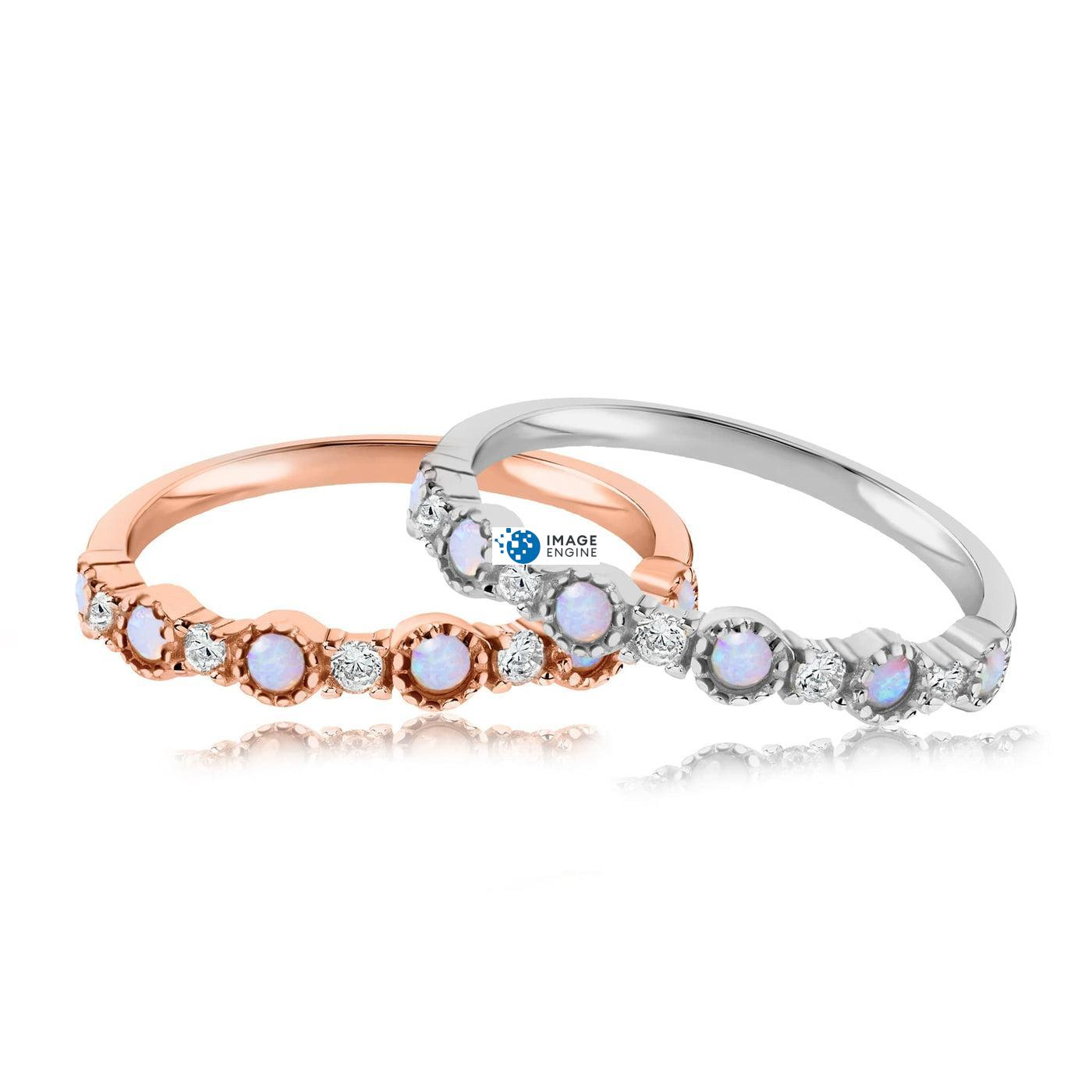 Debra Dots Opal Ring - Front View Side by Side - 18K Rose Gold Vermeil and 925 Sterling Silver
