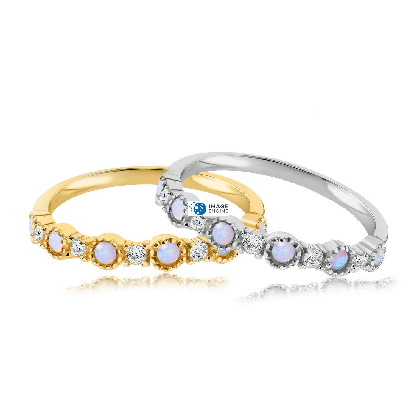 Debra Dots Opal Ring - Front View Side by Side - 18K Yellow Gold Vermeil and 925 Sterling Silver