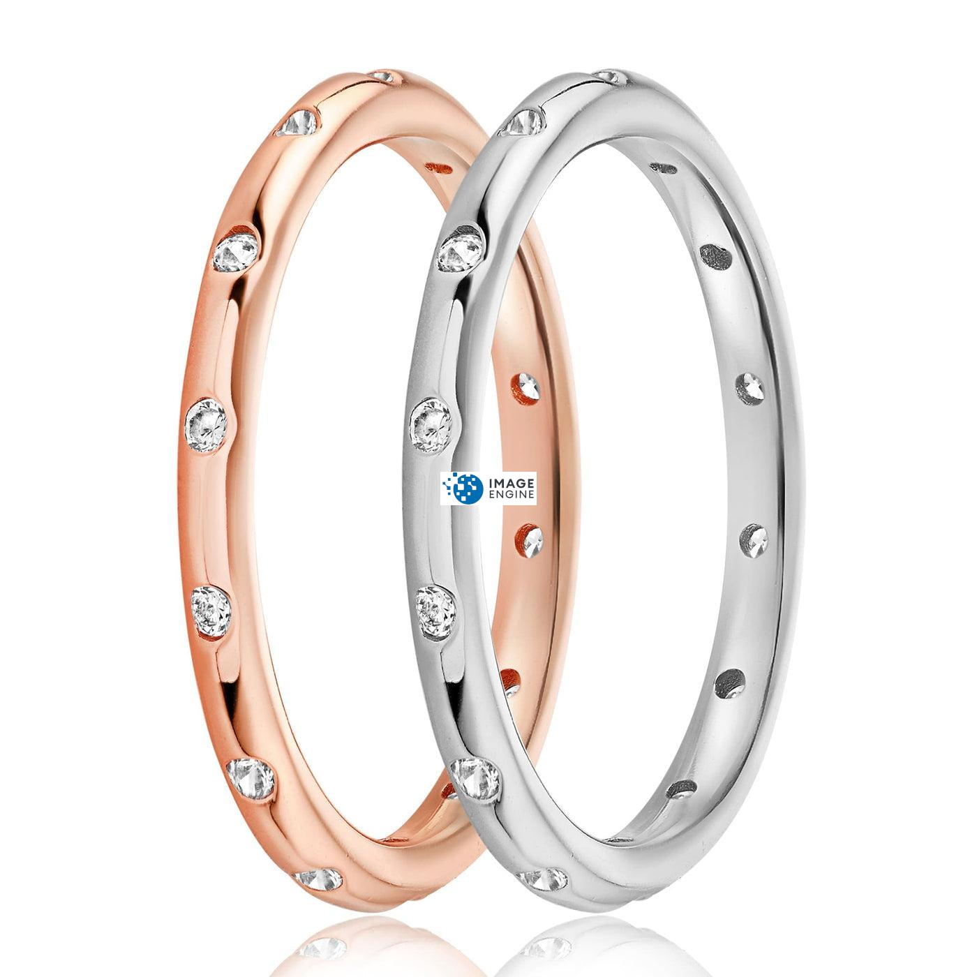 Droplet Ring - Side by Side - 925 Sterling Silver and 18K Rose Gold Vermeil