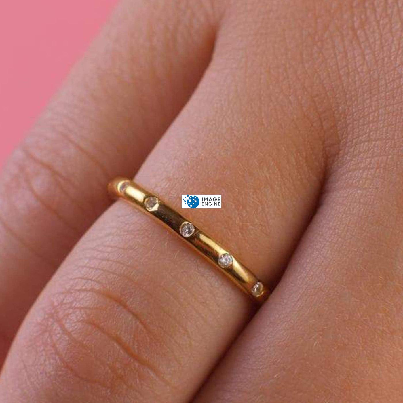Droplet Ring - Zoomed View while Wearing Ring - 18K Yellow Gold Vermeil