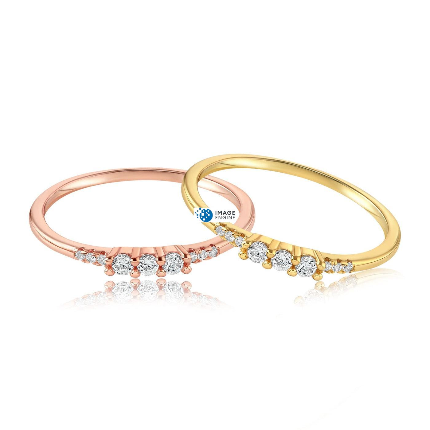 Emie Ring - Front View Side by Side - 18K Rose Gold Vermeil and 18K Yellow Gold Vermeil