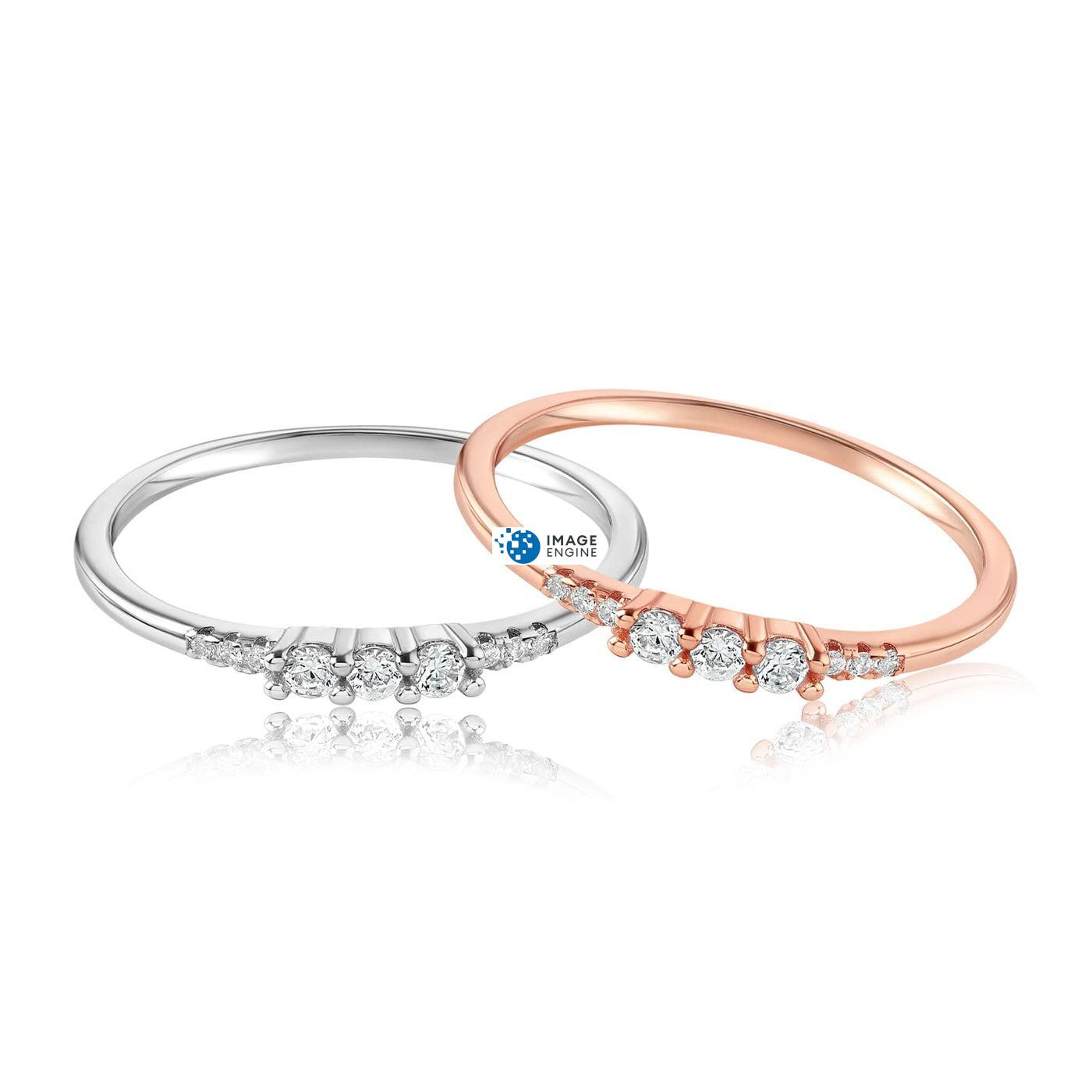 Emie Ring - Front View Side by Side - 18K Rose Gold Vermeil and 925 Sterling Silver