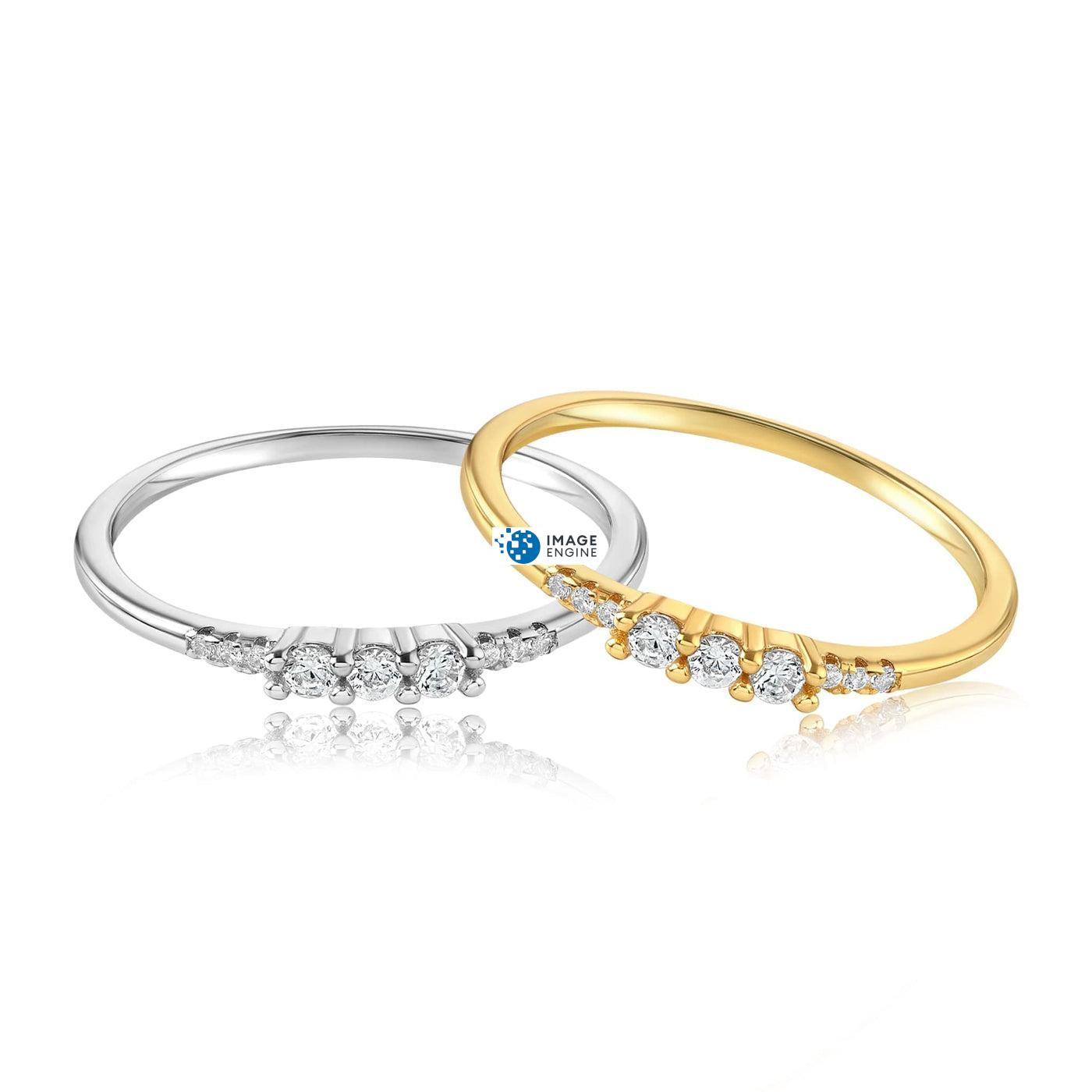 Emie Ring - Front View Side by Side - 18K Yellow Gold Vermeil and 925 Sterling Silver