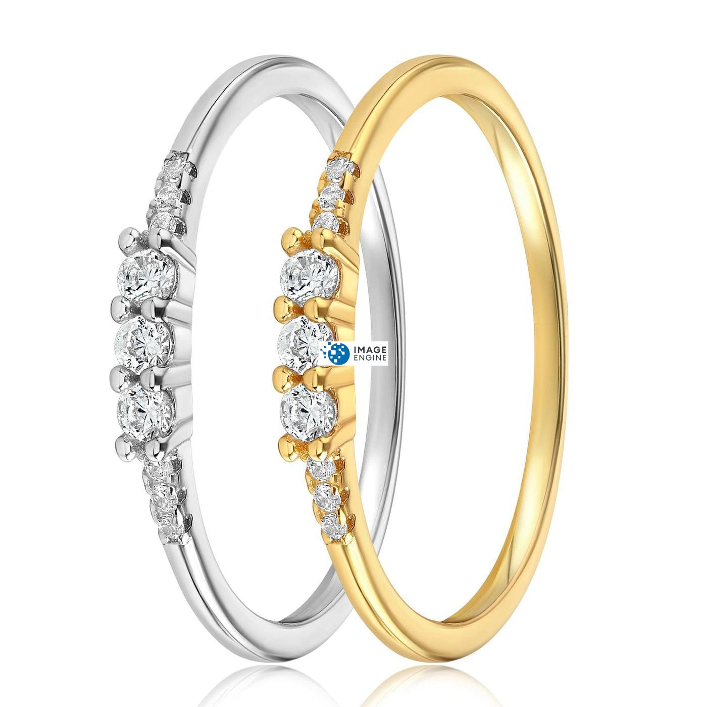 Emie Ring - Side by Side - 18K Yellow Gold and 925 Sterling Silver