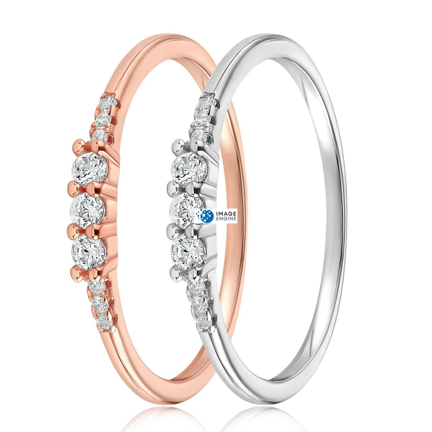 Emie Ring - Side by Side - 925 Sterling Silver and 18K Rose Gold Vermeil