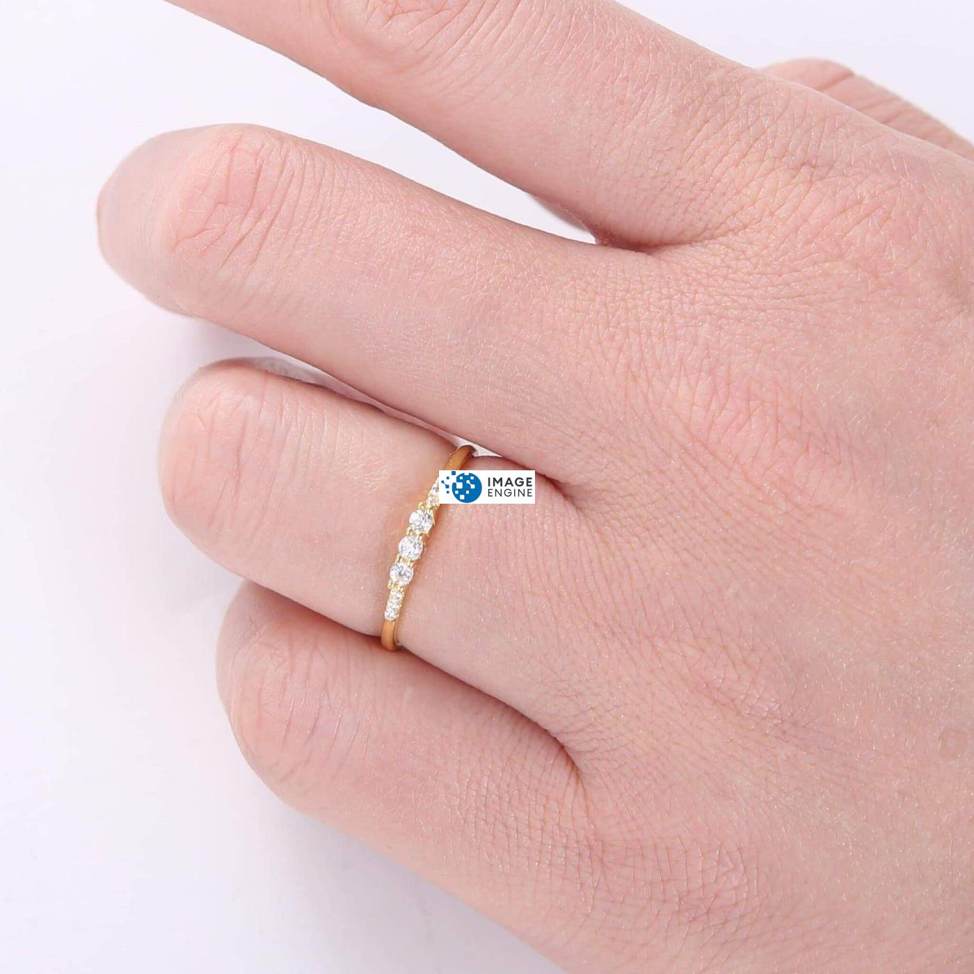 Emie Ring - Wearing on Ring Finger on Higher Angle View - 18K Yellow Gold Vermeil