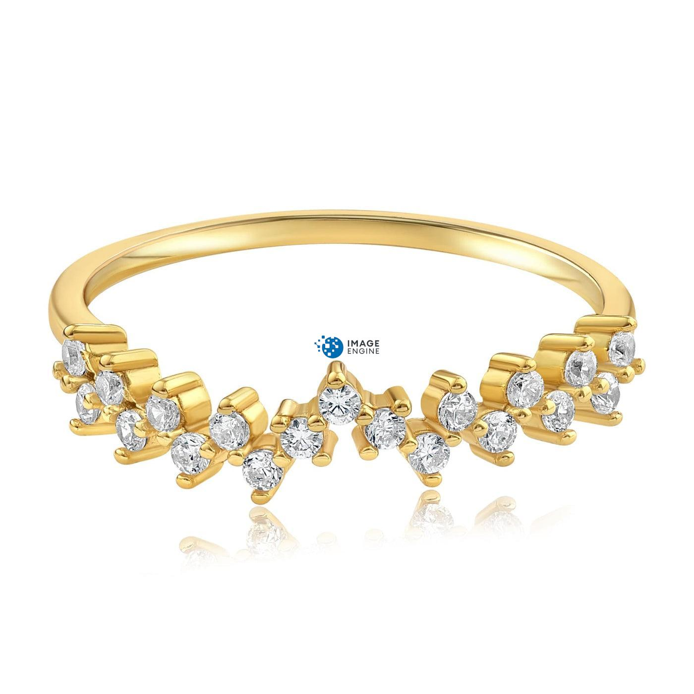 Esther Petite Cluster Ring - Front View Facing Down - 18K Yellow Gold Vermeil