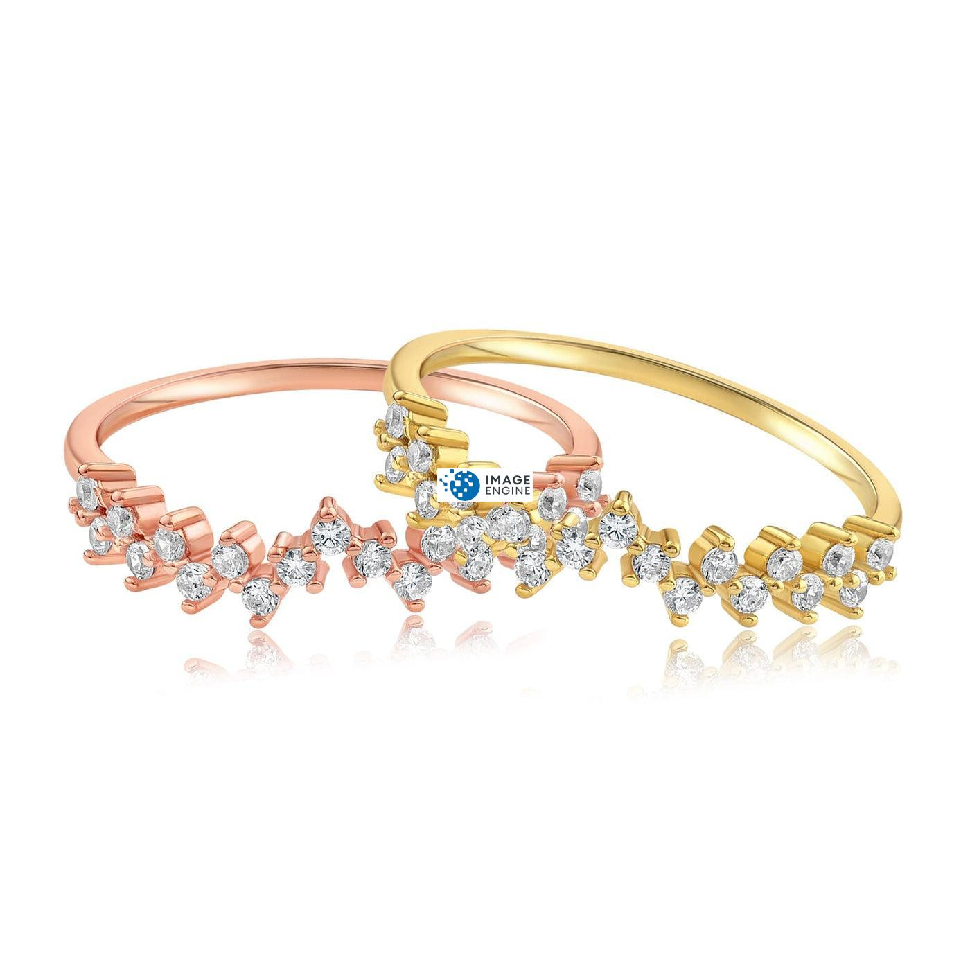 Esther Petite Cluster Ring - Front View Side by Side - 18K Rose Gold Vermeil and 18K Yellow Gold Vermeil