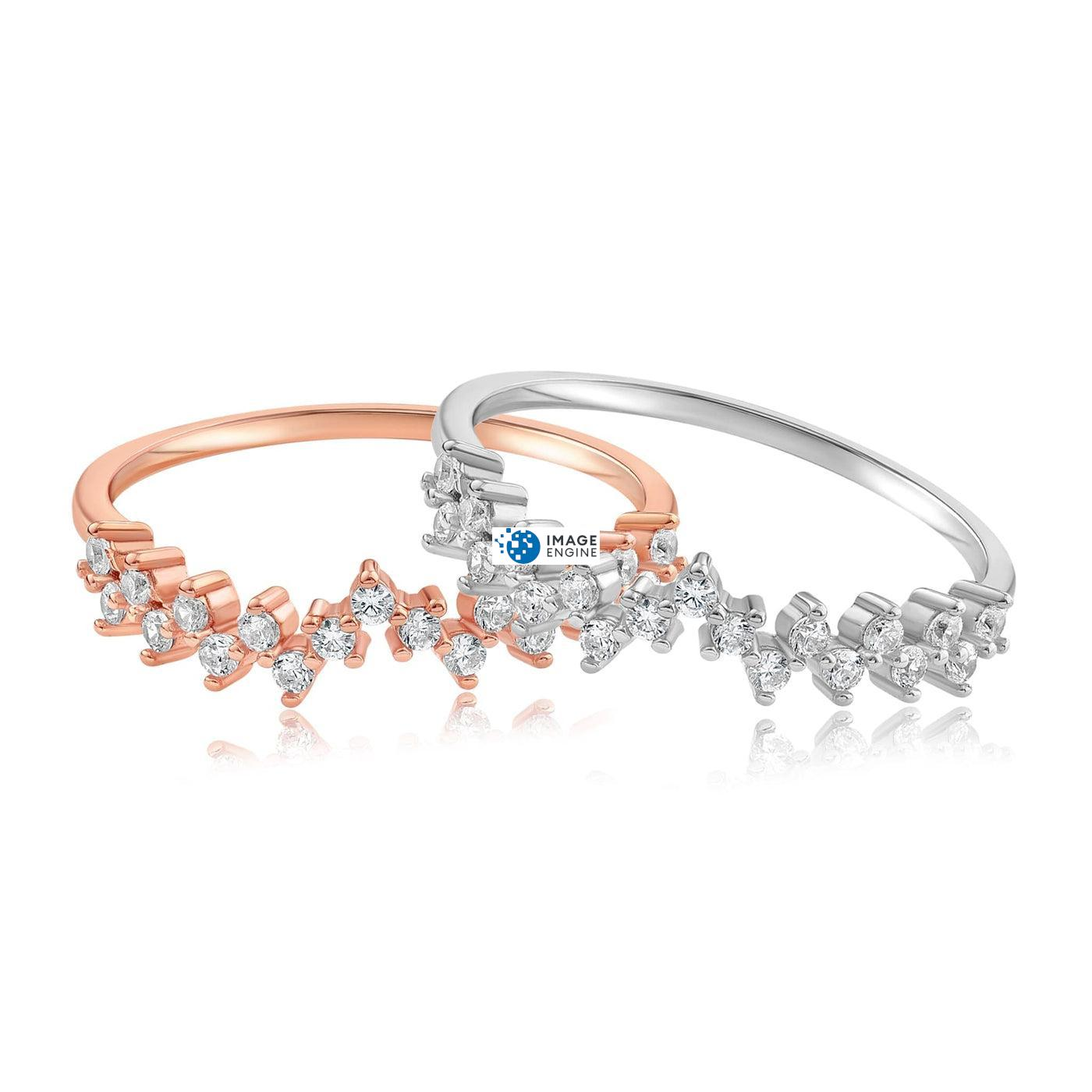 Esther Petite Cluster Ring - Front View Side by Side - 18K Rose Gold Vermeil and 925 Sterling Silver