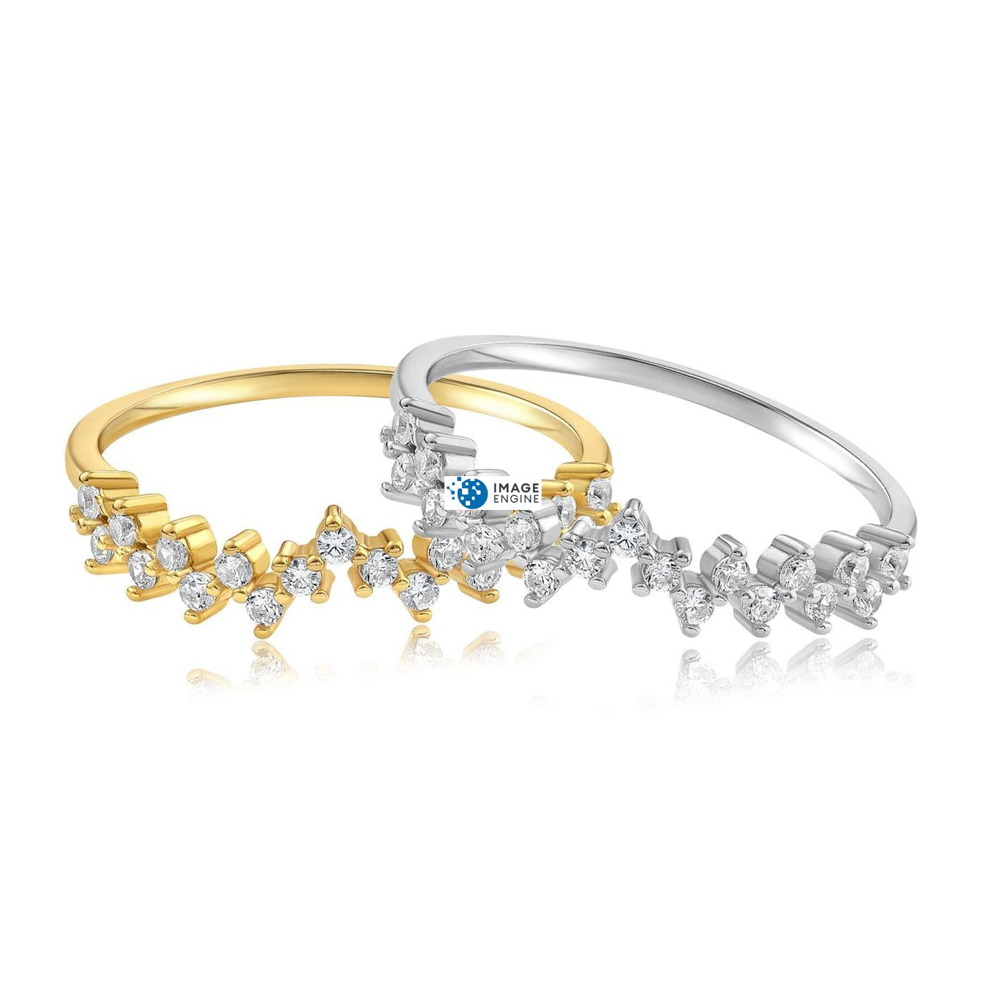 Esther Petite Cluster Ring - Front View Side by Side - 18K Yellow Gold Vermeil and 925 Sterling Silver