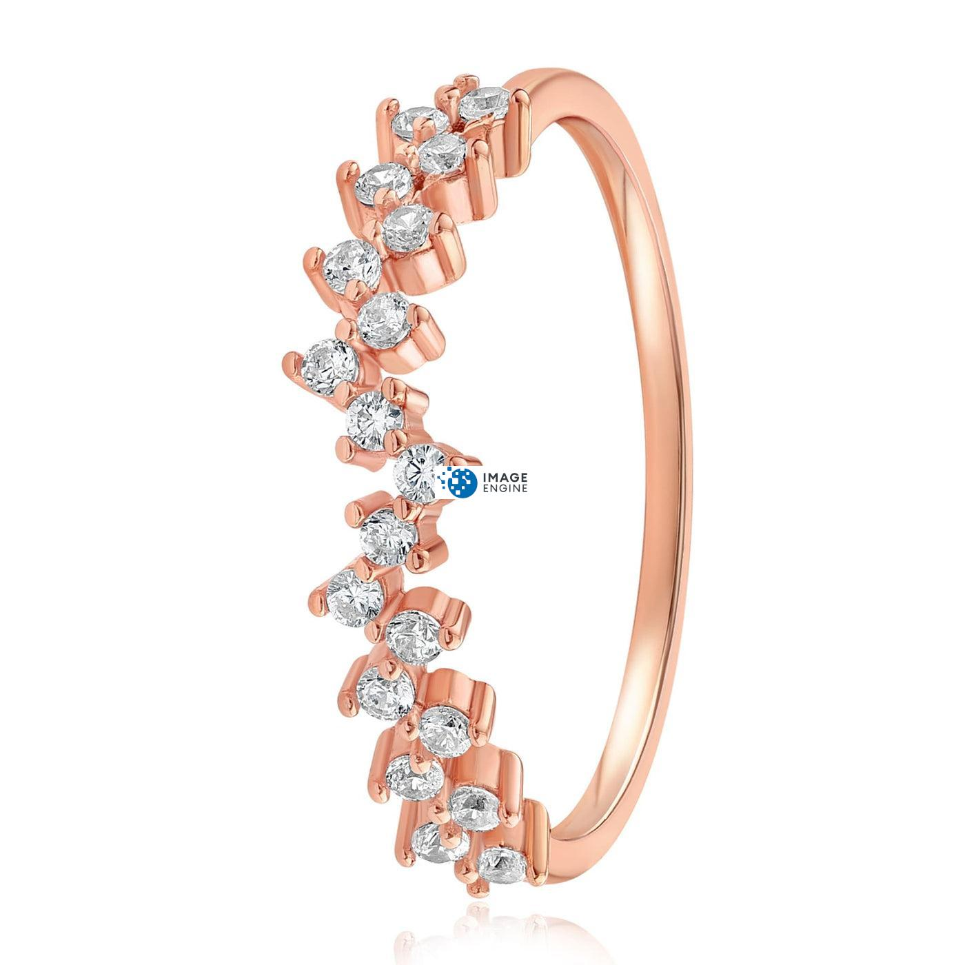 Esther Petite Cluster Ring - Side View - 18K Rose Gold Vermeil