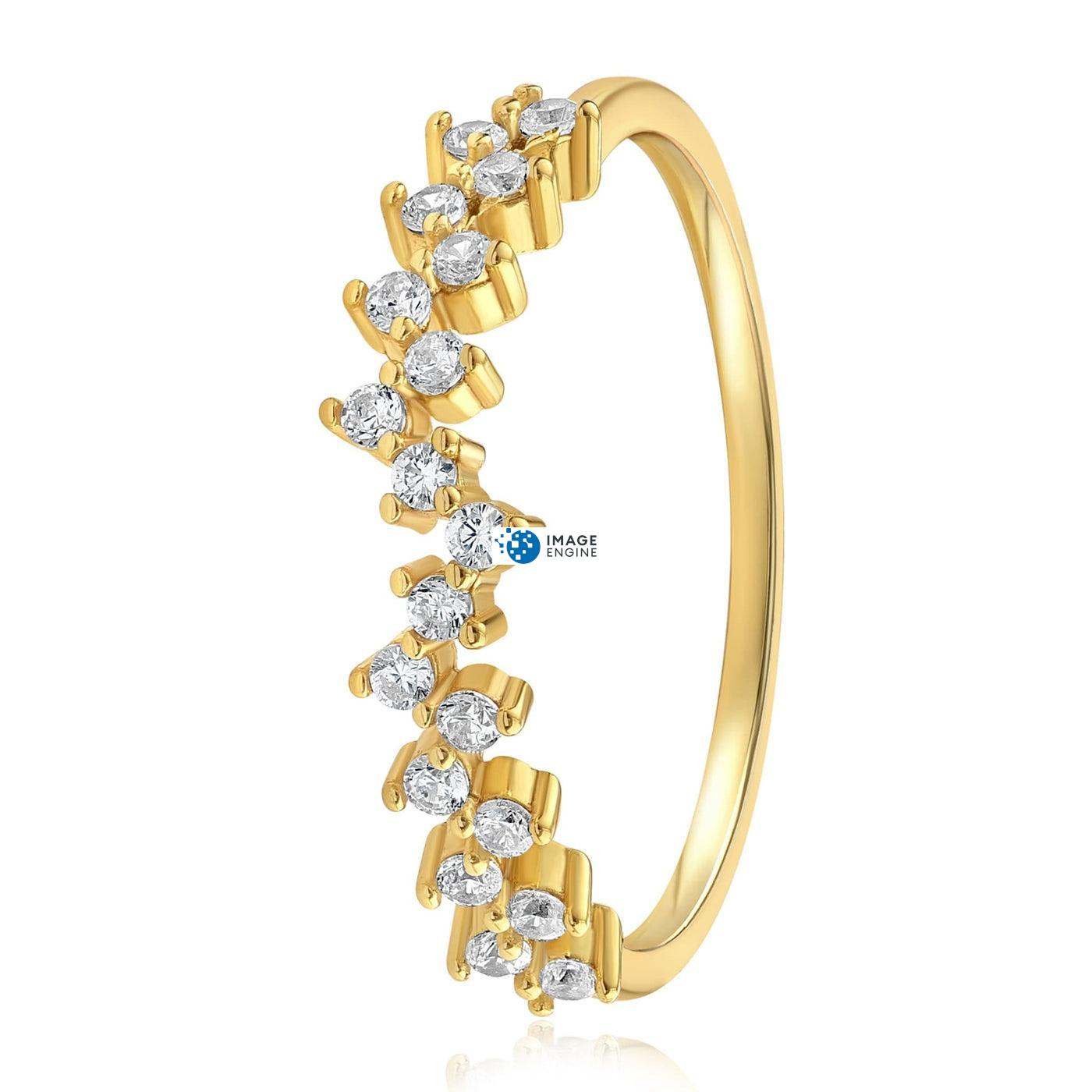 Esther Petite Cluster Ring - Side View - 18K Yellow Gold Vermeil