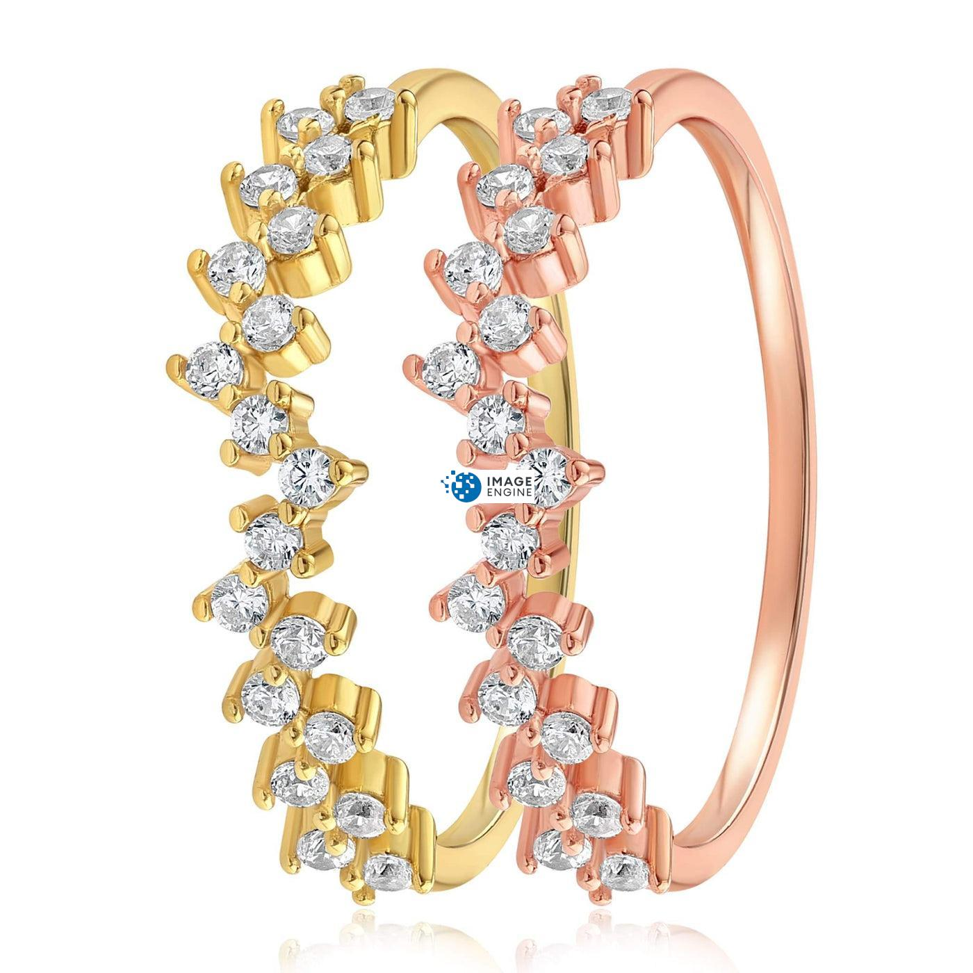 Esther Petite Cluster Ring - Side by Side - 18K Yellow Gold Vermeil and 18K Rose Gold Vermeil