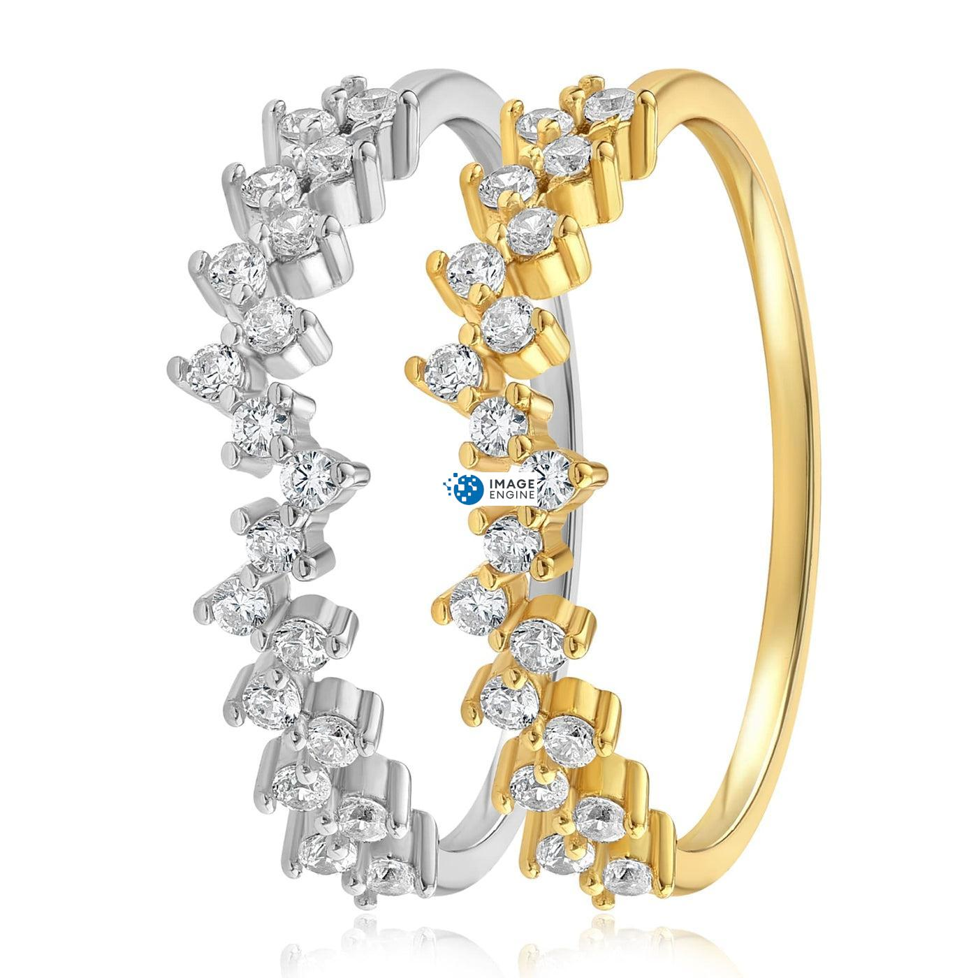 Esther Petite Cluster Ring - Side by Side - 18K Yellow Gold and 925 Sterling Silver