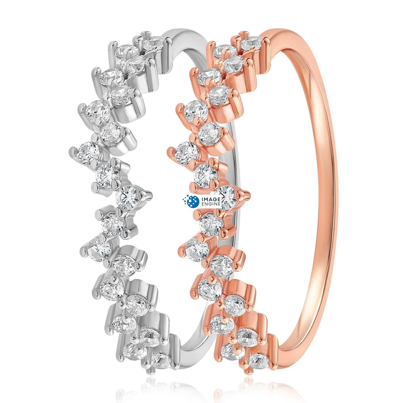 Esther Petite Cluster Ring - Side by Side - 925 Sterling Silver and 18K Rose Gold Vermeil