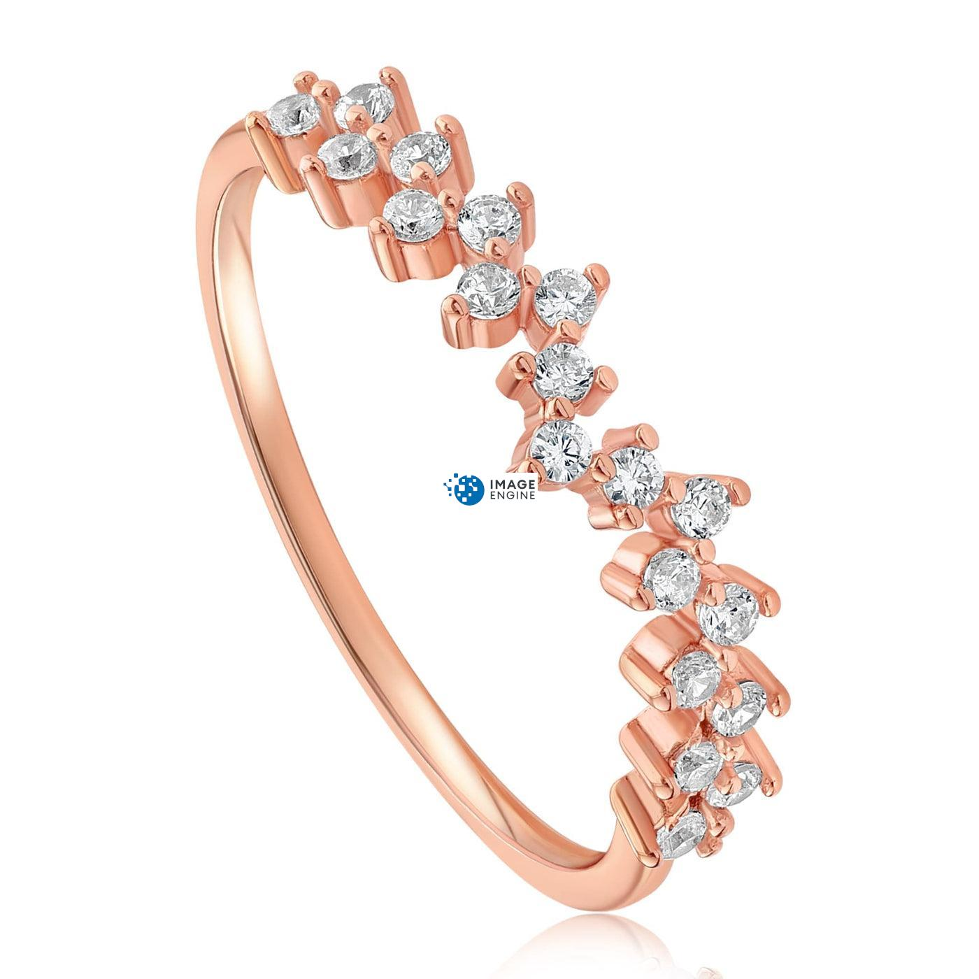 Esther Petite Cluster Ring - Three Quarter View - 18K Rose Gold Vermeil