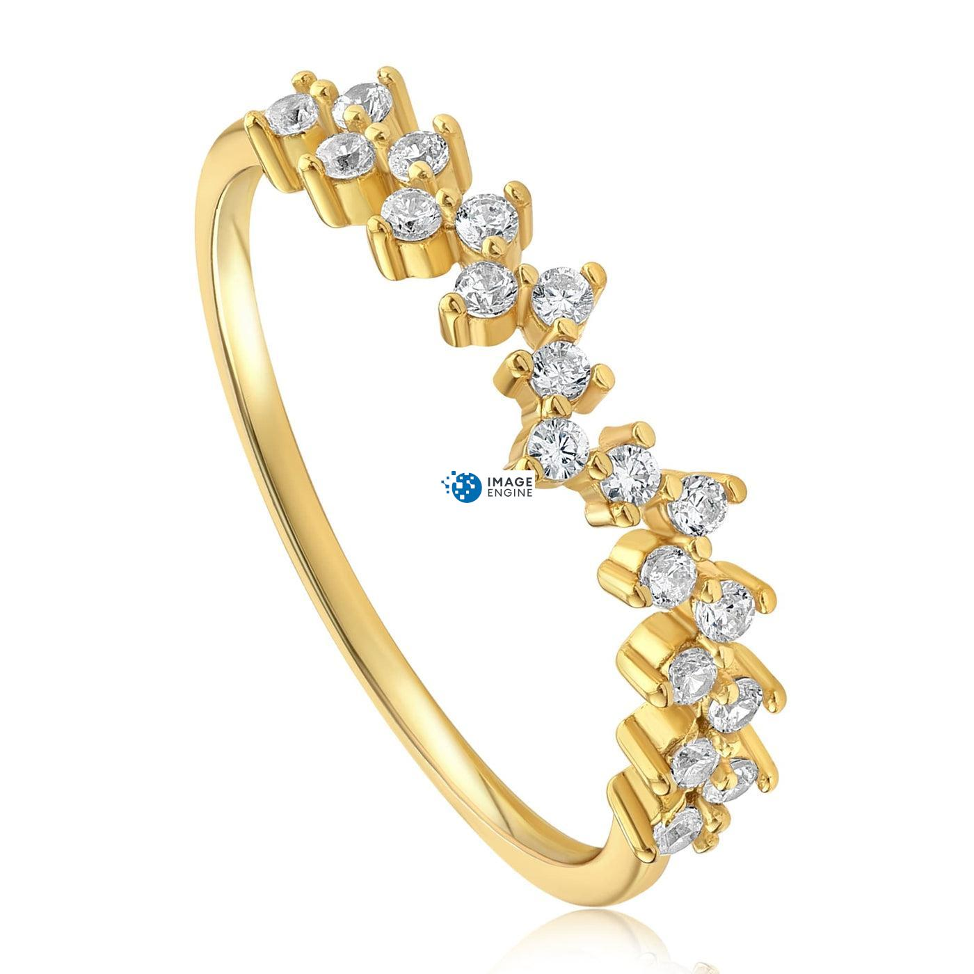 Esther Petite Cluster Ring - Three Quarter View - 18K Yellow Gold Vermeil