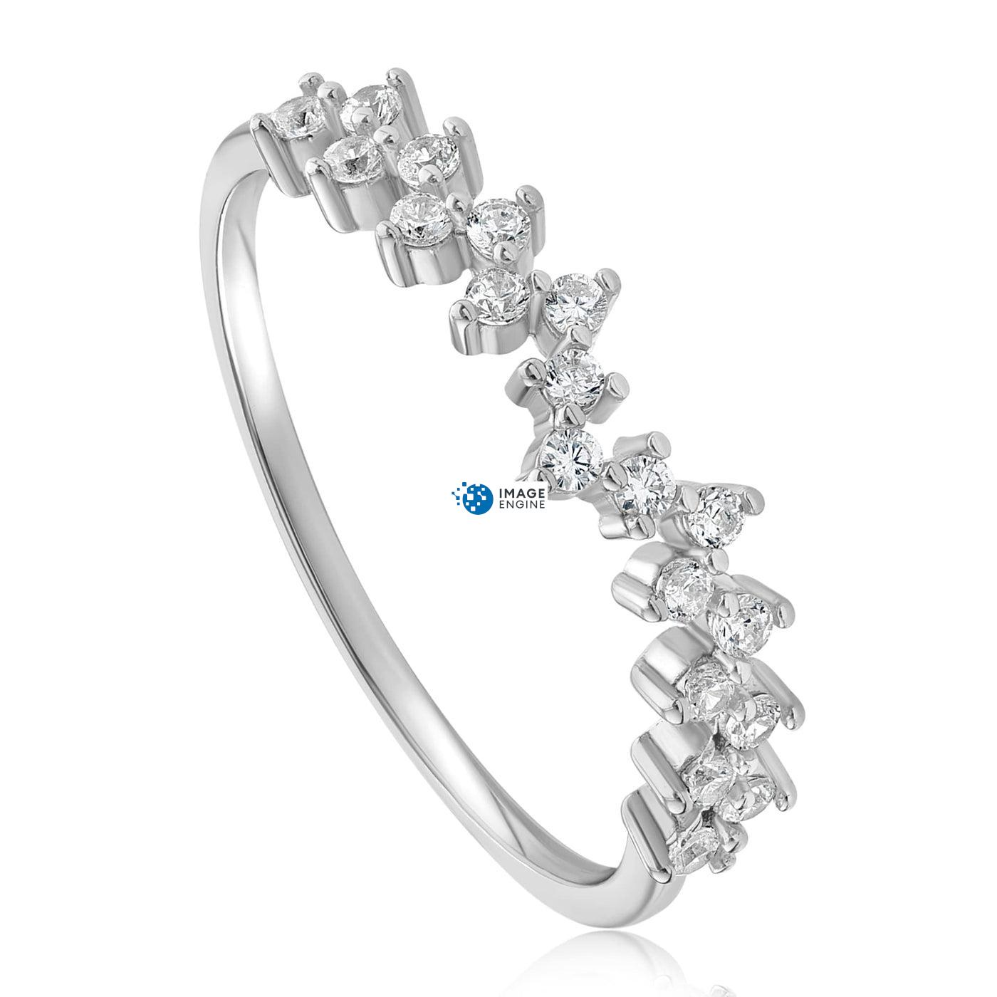 Esther Petite Cluster Ring - Three Quarter View - 925 Sterling Silver