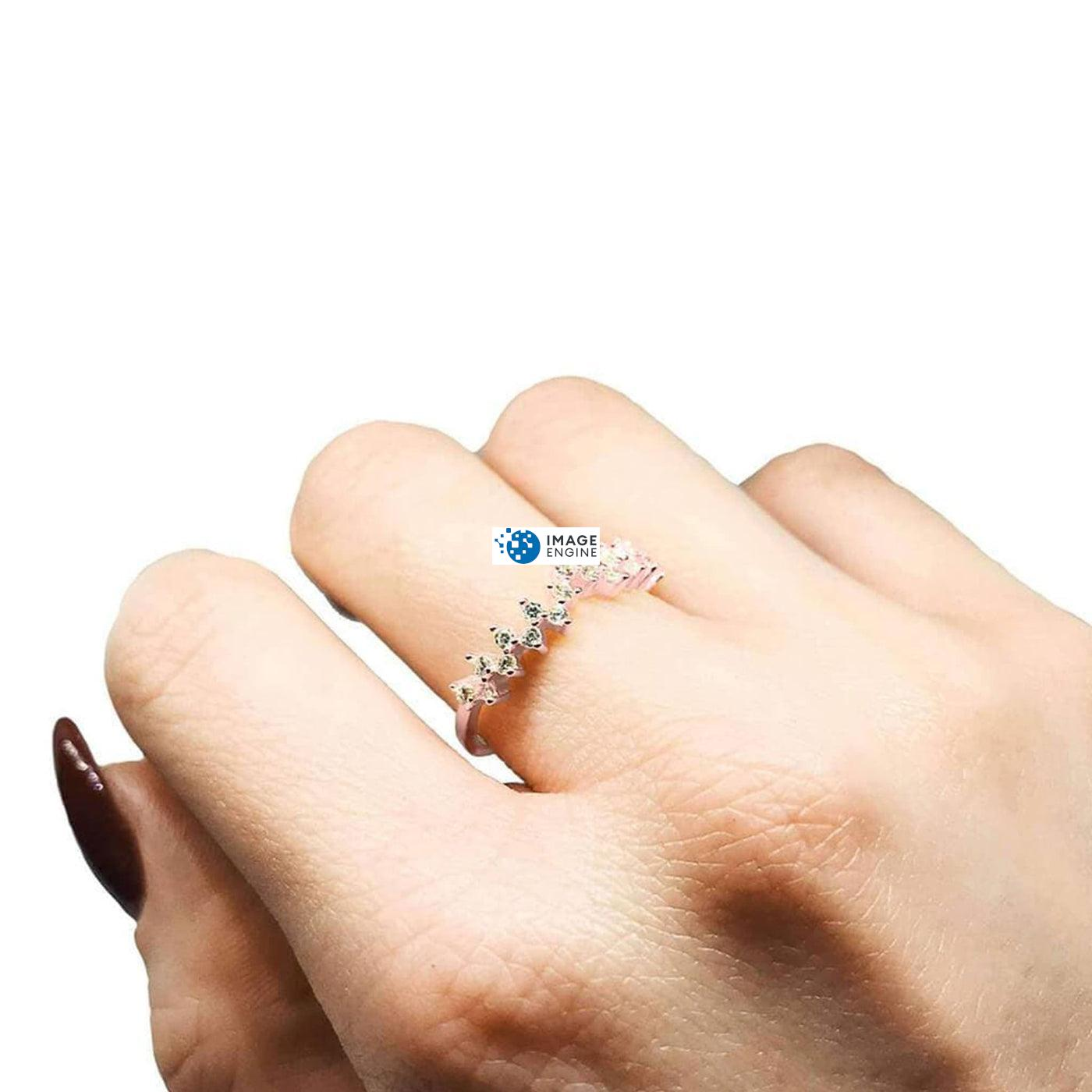 Esther Petite Cluster Ring - Wearing on Middle Finger on Higher Angle View - 18K Rose Gold Vermeil