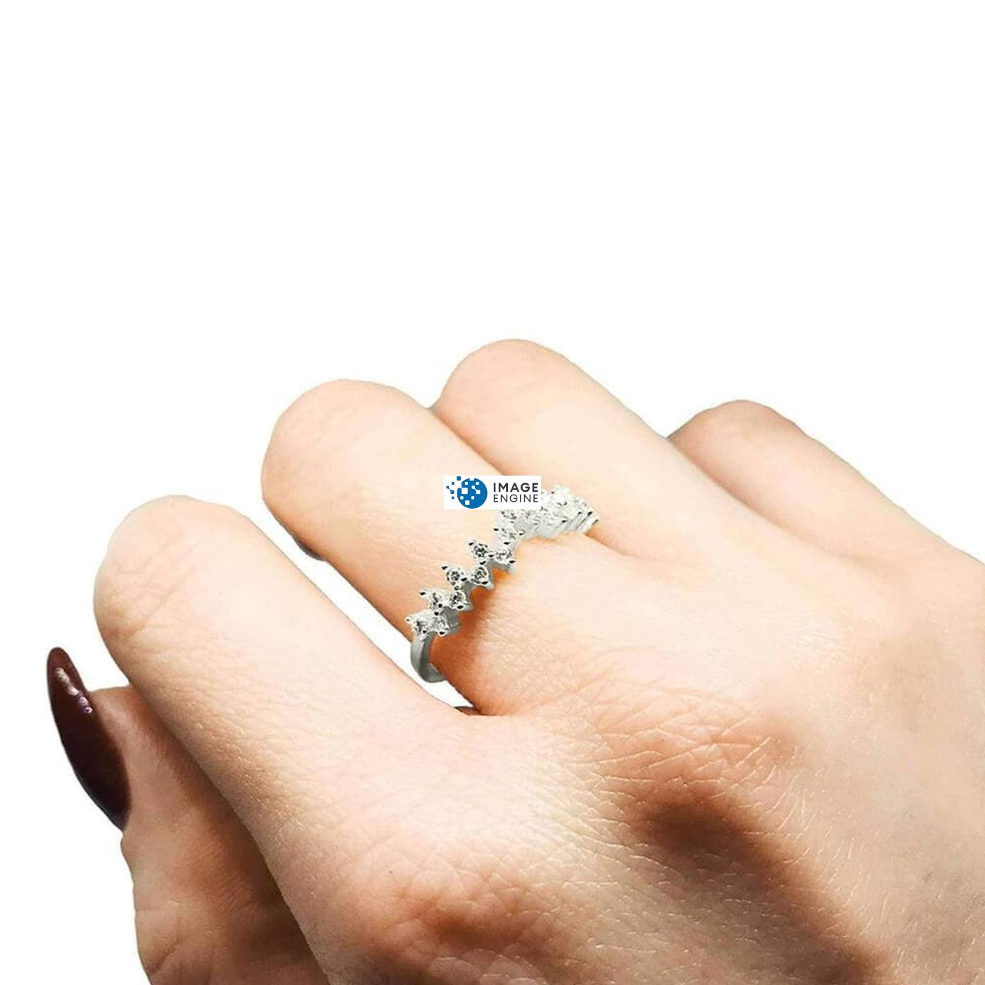 Esther Petite Cluster Ring - Wearing on Middle Finger on Higher Angle View - 925 Sterling Silver
