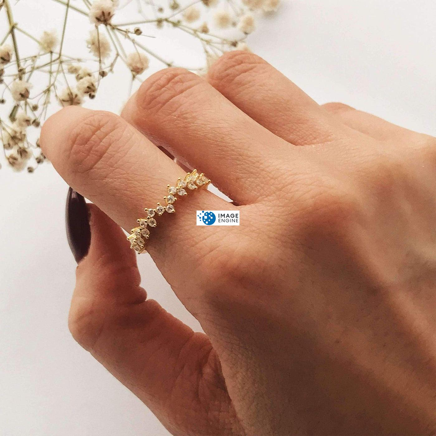 Esther Petite Cluster Ring - Wearing on Pointer Finger - 18K Yellow Gold Vermeil