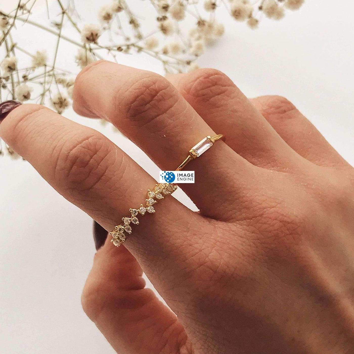 Esther Petite Cluster Ring - Wearing on Pointer Finger w Another Ring - 18K Yellow Gold Vermeil