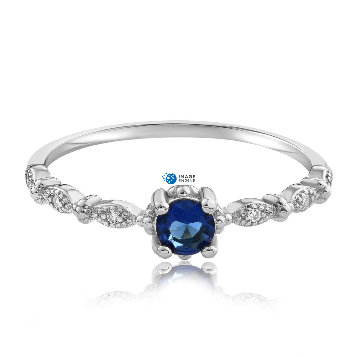 Garen Ring Blue Gemstone - Front View Facing Down - 925 Sterling Silver