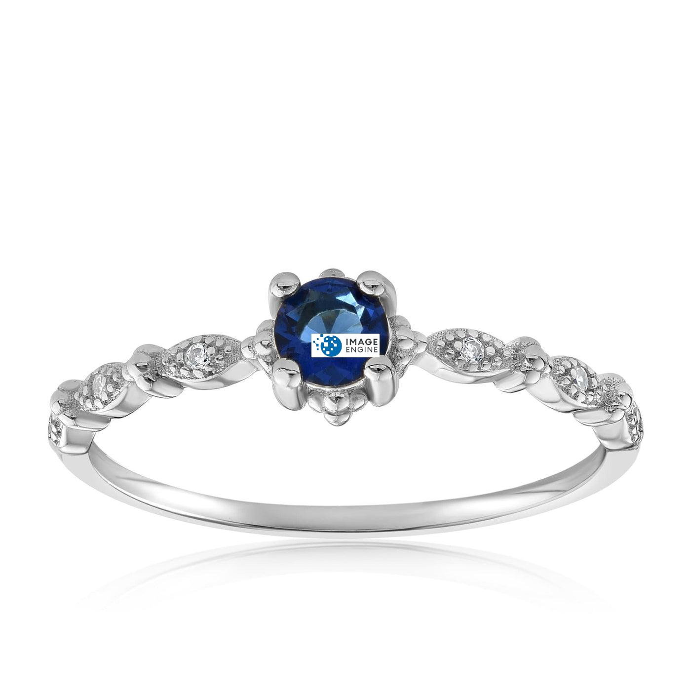 Garen Ring Blue Gemstone - Front View Facing Up - 925 Sterling Silver