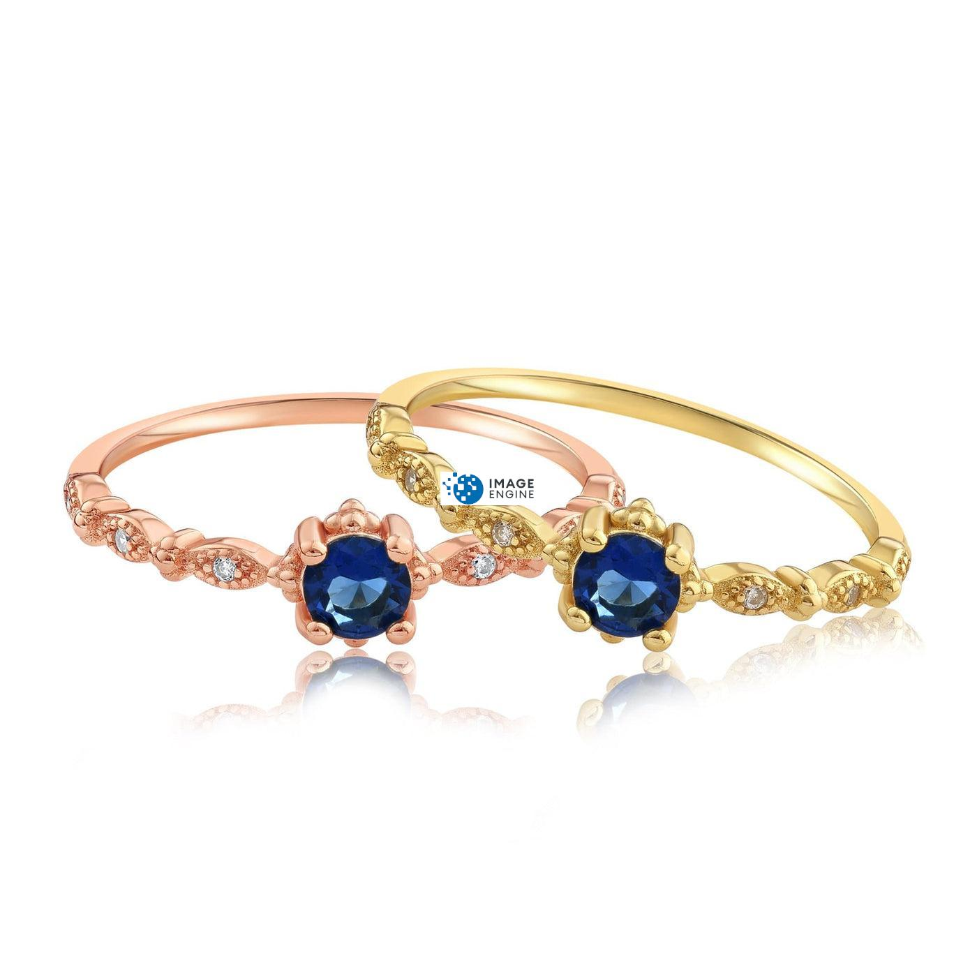 Garen Ring Blue Gemstone - Front View Side by Side - 18K Rose Gold Vermeil and 18K Yellow Gold Vermeil
