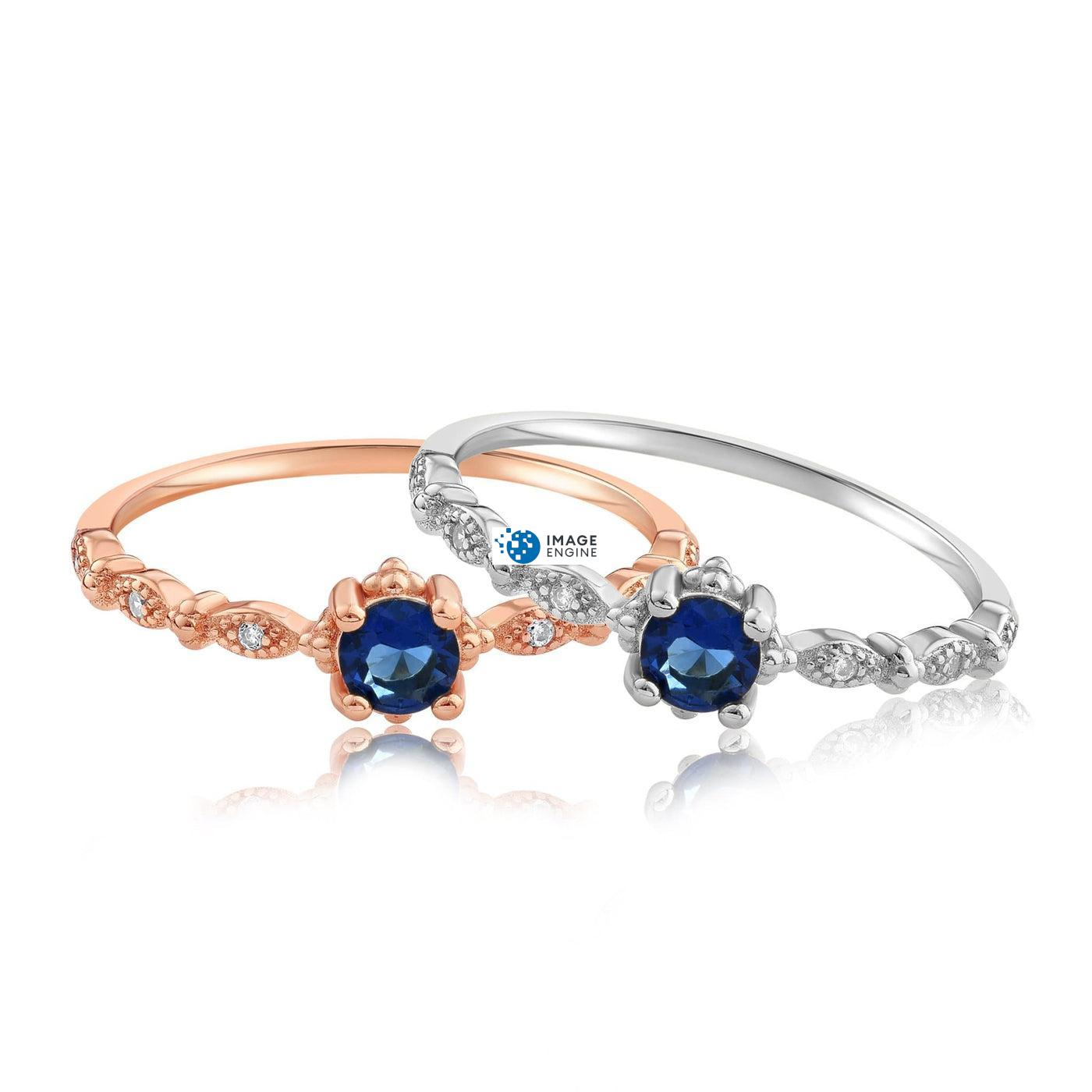 Garen Ring Blue Gemstone - Front View Side by Side - 18K Rose Gold Vermeil and 925 Sterling Silver