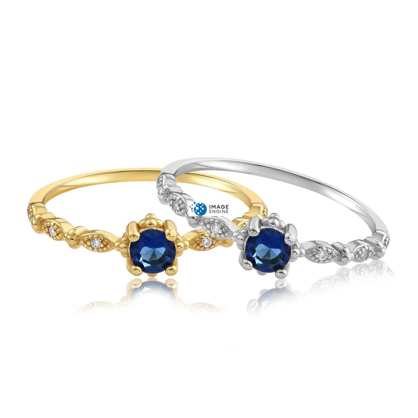 Garen Ring Blue Gemstone - Front View Side by Side - 18K Yellow Gold Vermeil and 925 Sterling Silver