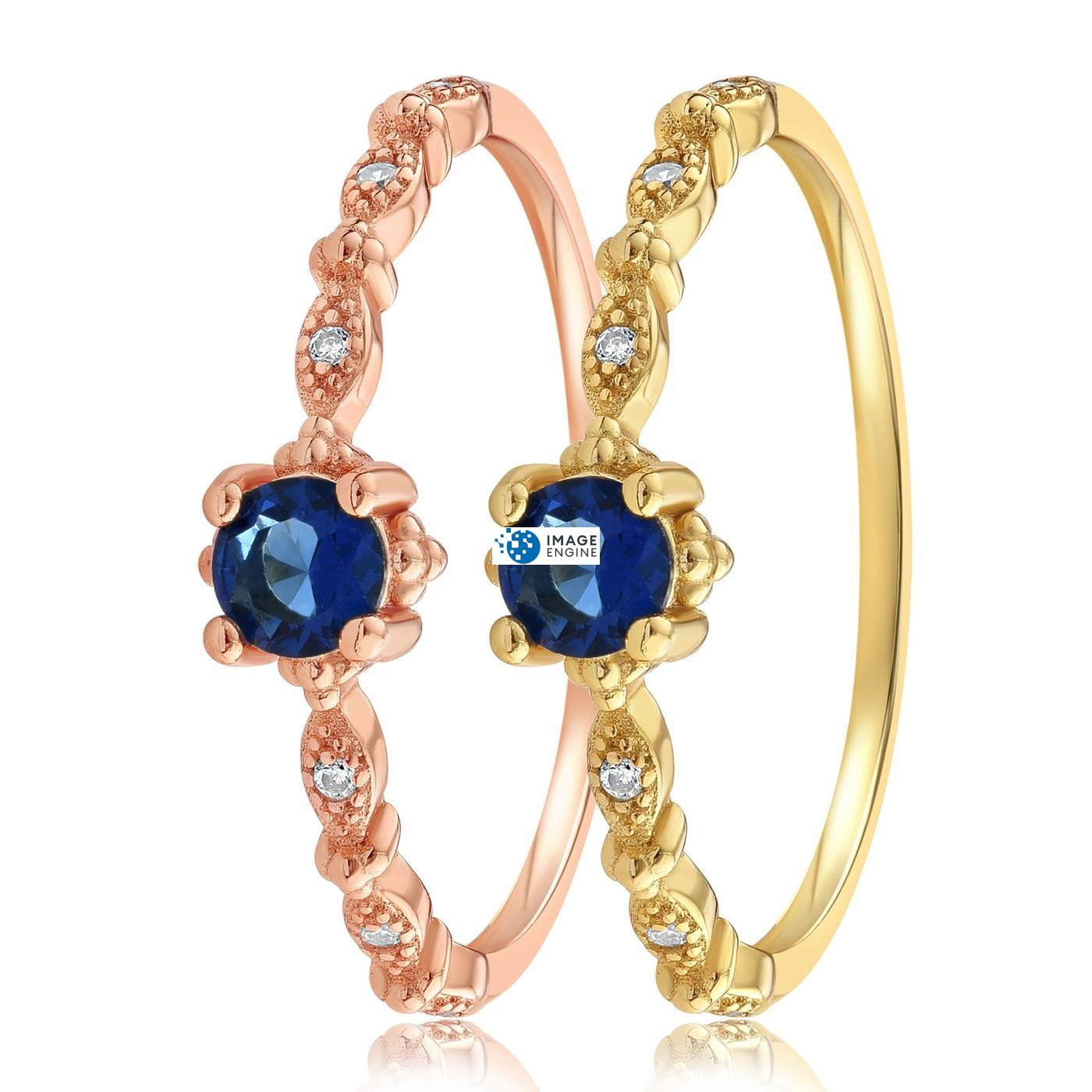 Garen Ring Blue Gemstone - Side by Side - 18K Yellow Gold Vermeil and 18K Rose Gold Vermeil